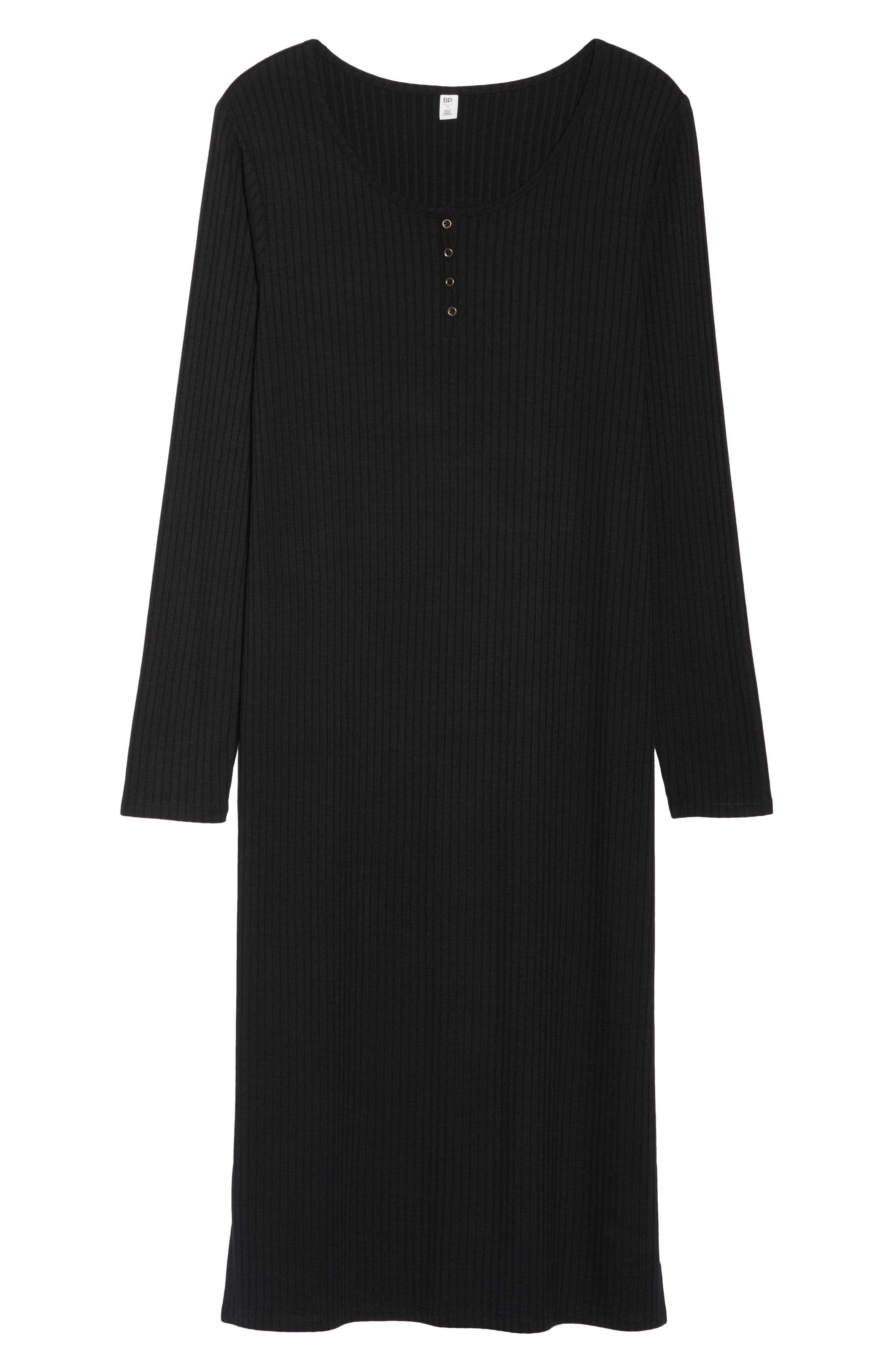 Ribbed Henley Midi Dress,                             Alternate thumbnail 12, color,                             BLACK