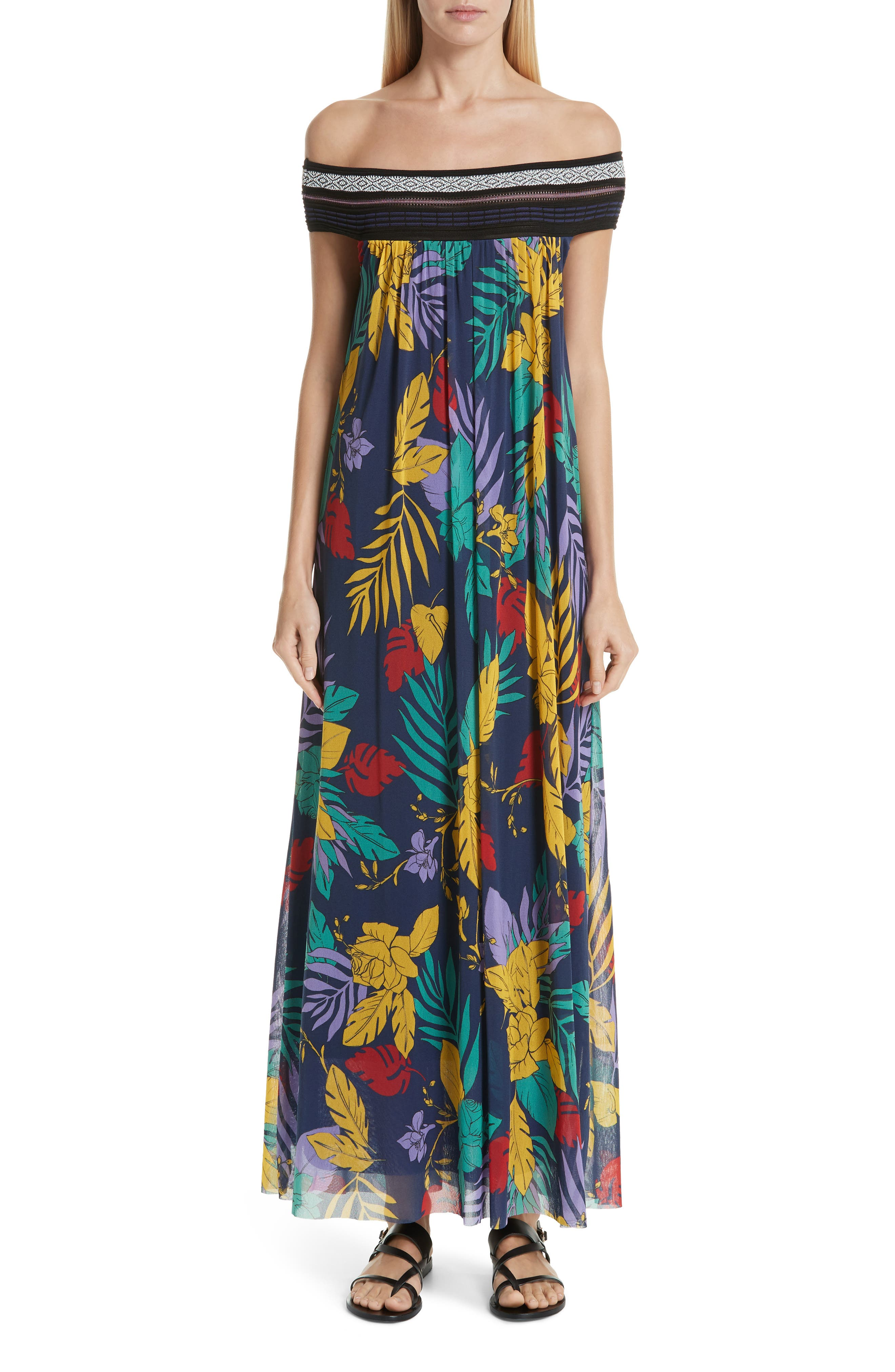 Fuzzi Floral Tulle Off The Shoulder Maxi Dress, Blue