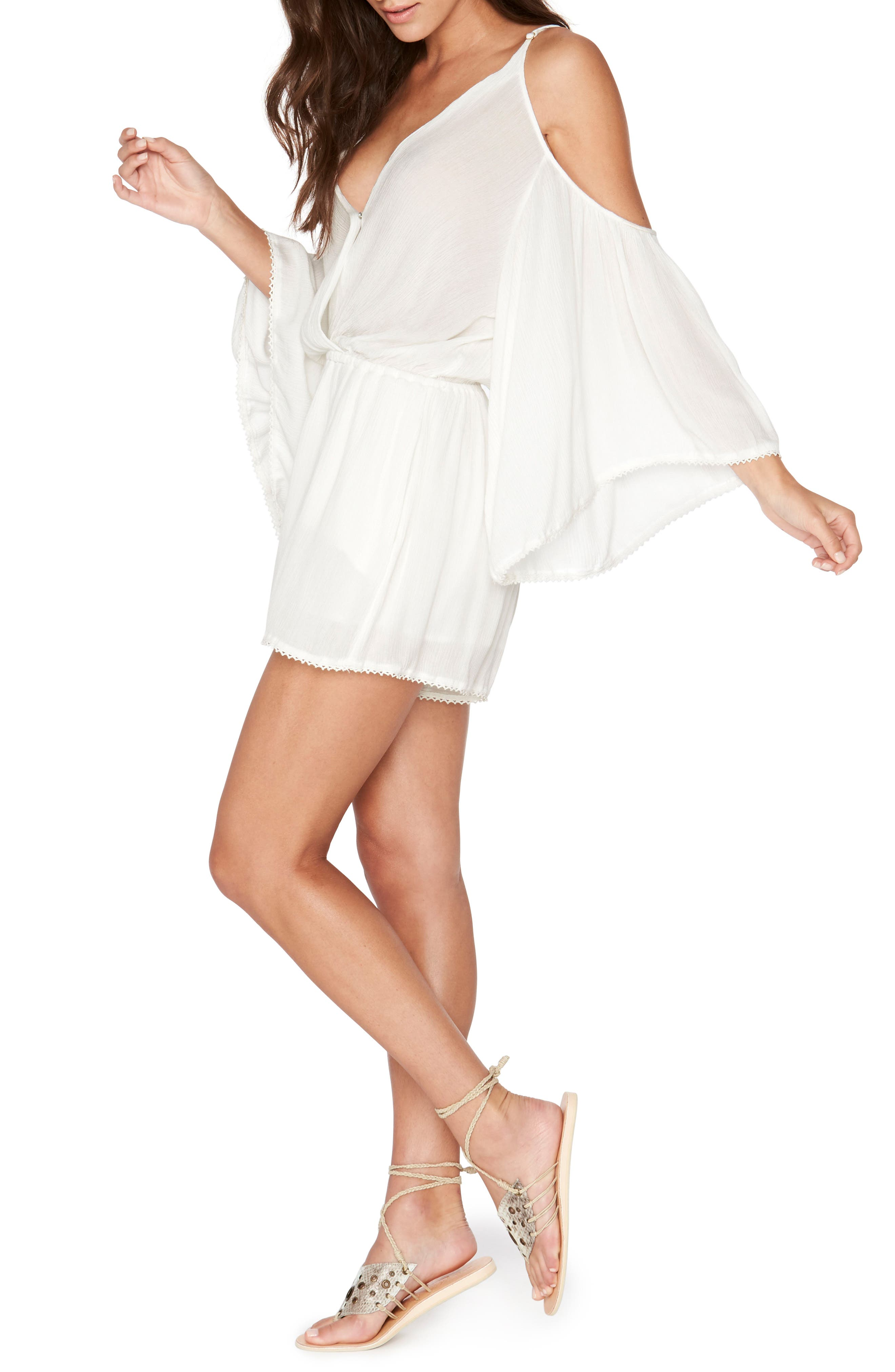 Soho Cold Shoulder Cover-Up Romper,                             Alternate thumbnail 6, color,