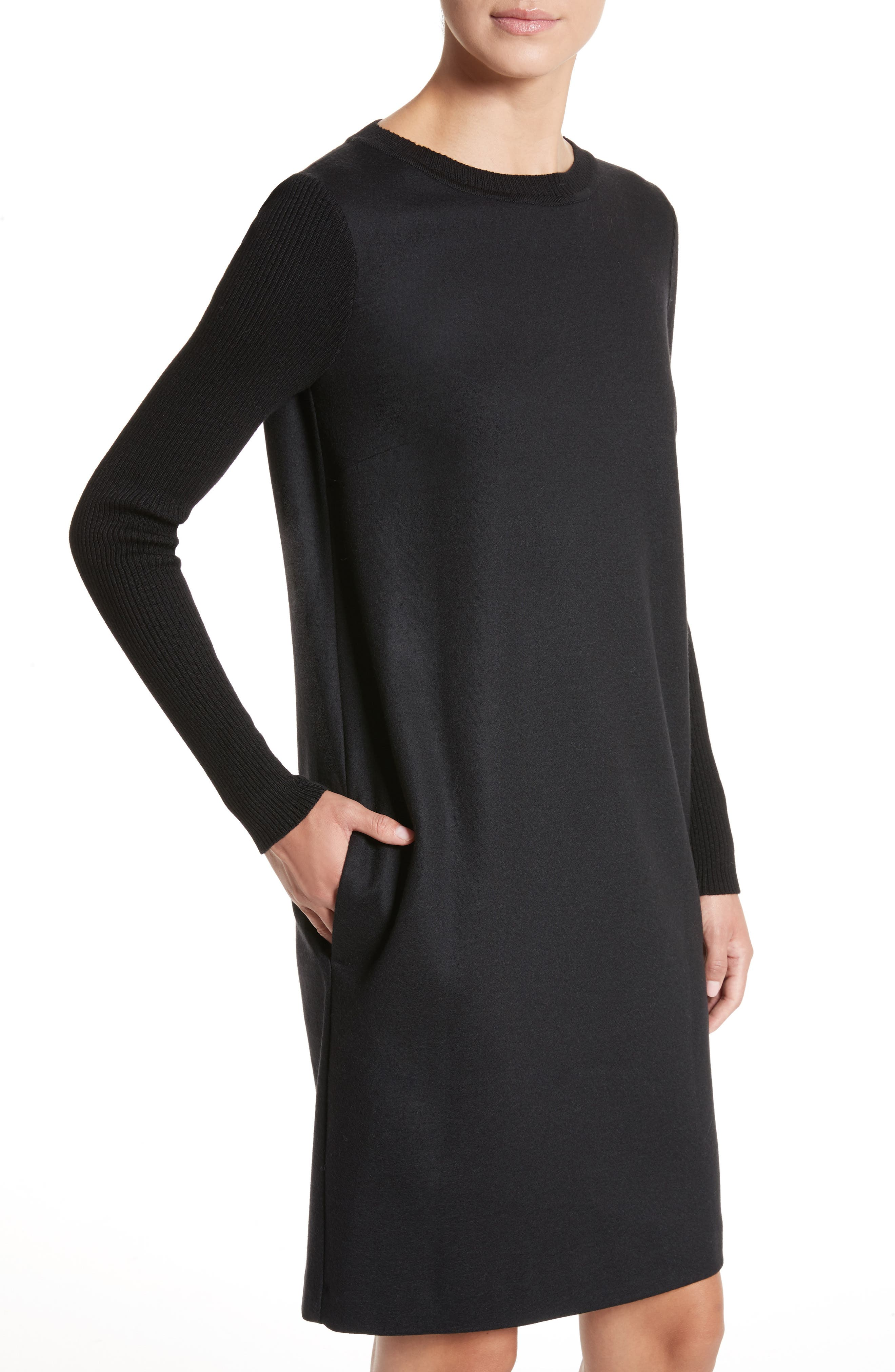 Cancan Wool Jersey Dress with Removable Knit Cowl,                             Alternate thumbnail 4, color,                             001