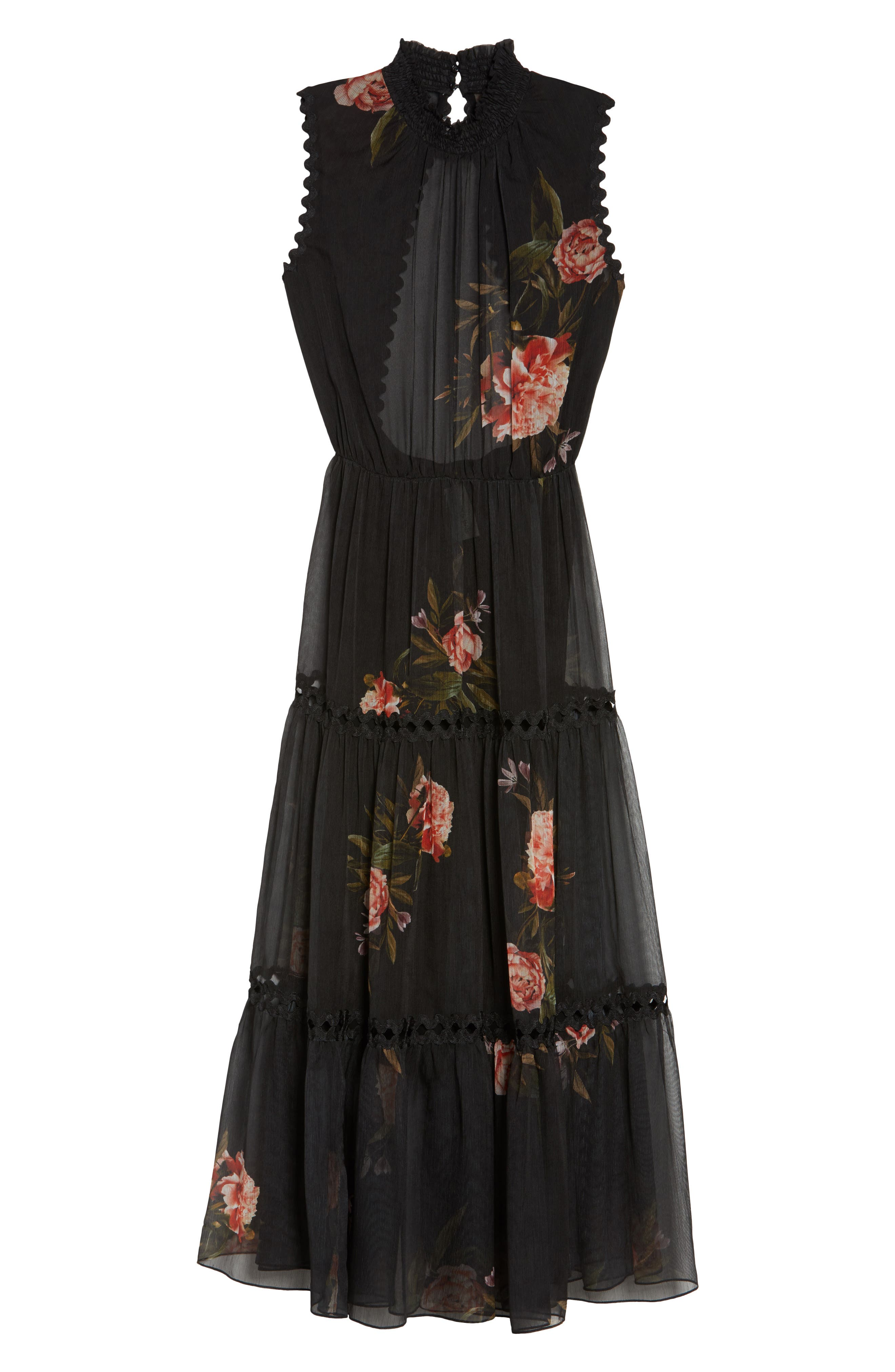 Noir Rana Smocked Neck Midi Dress,                             Alternate thumbnail 6, color,                             001