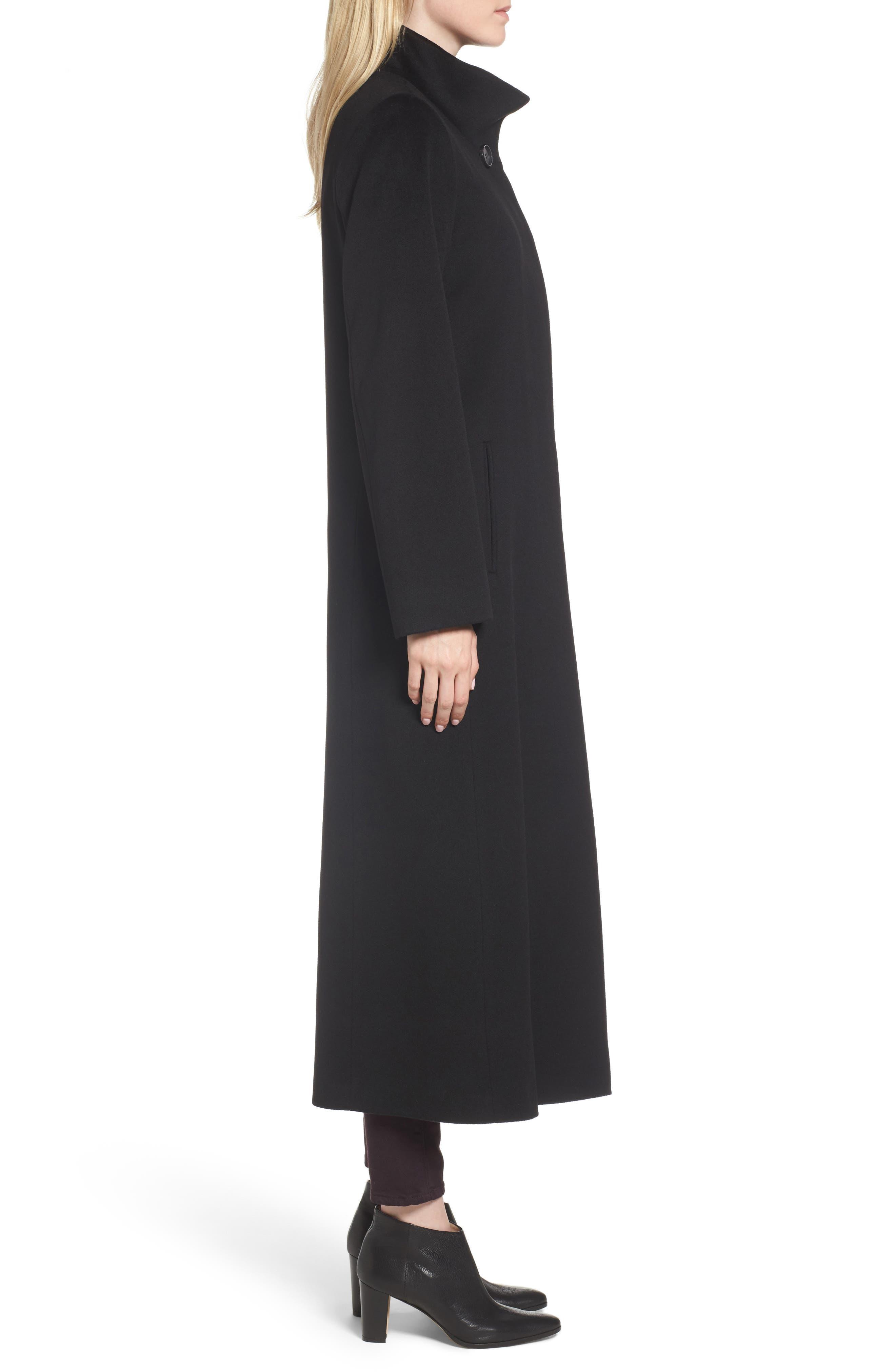 Long Wool Coat,                             Alternate thumbnail 4, color,                             001