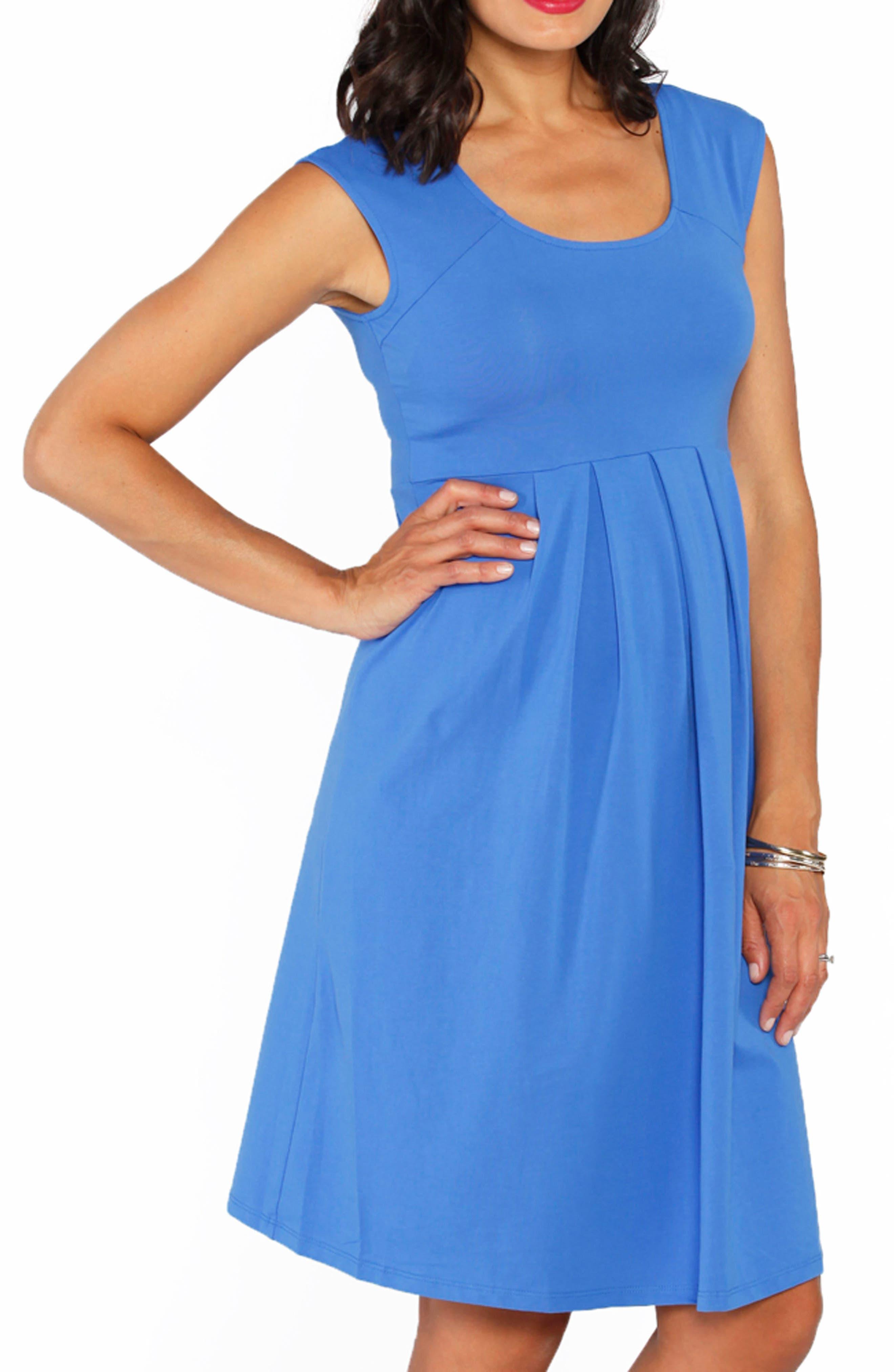 Stretch Cotton Maternity Dress,                             Alternate thumbnail 3, color,                             BLUE