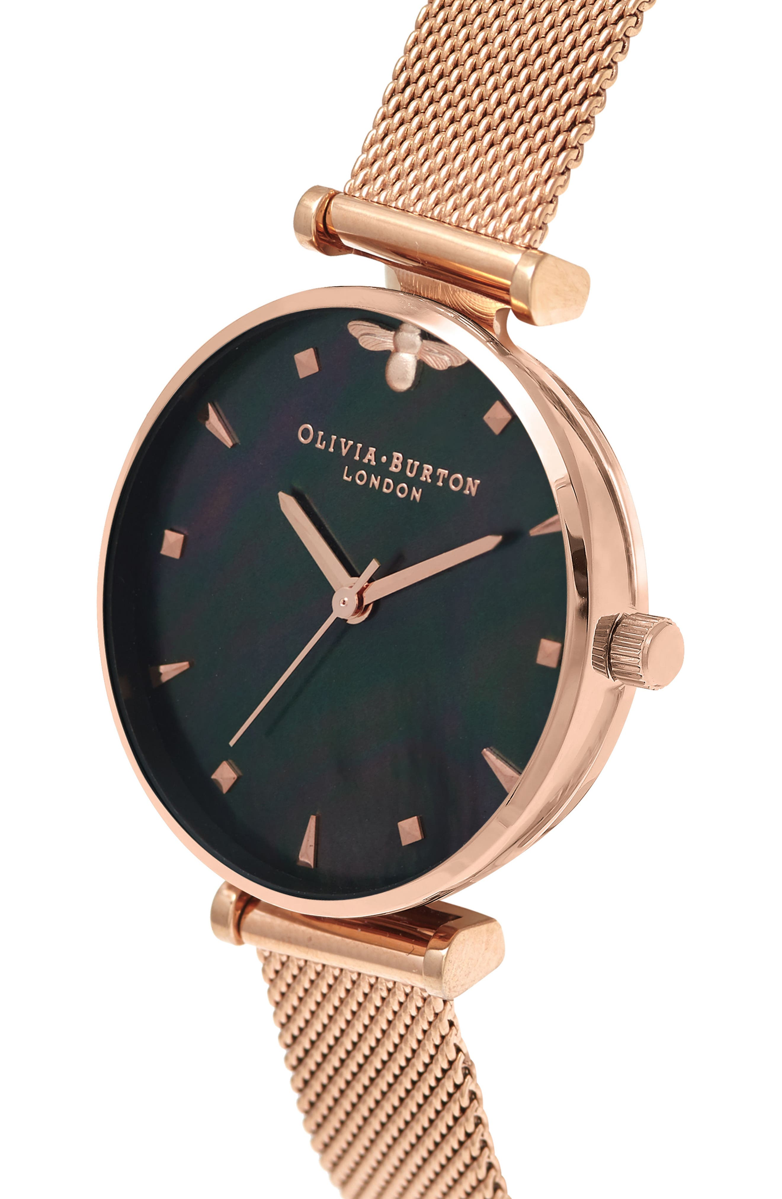 Queen Bee Mesh Strap Watch, 30mm,                             Alternate thumbnail 4, color,                             ROSE GOLD/ BLACK MOP/ SILVER