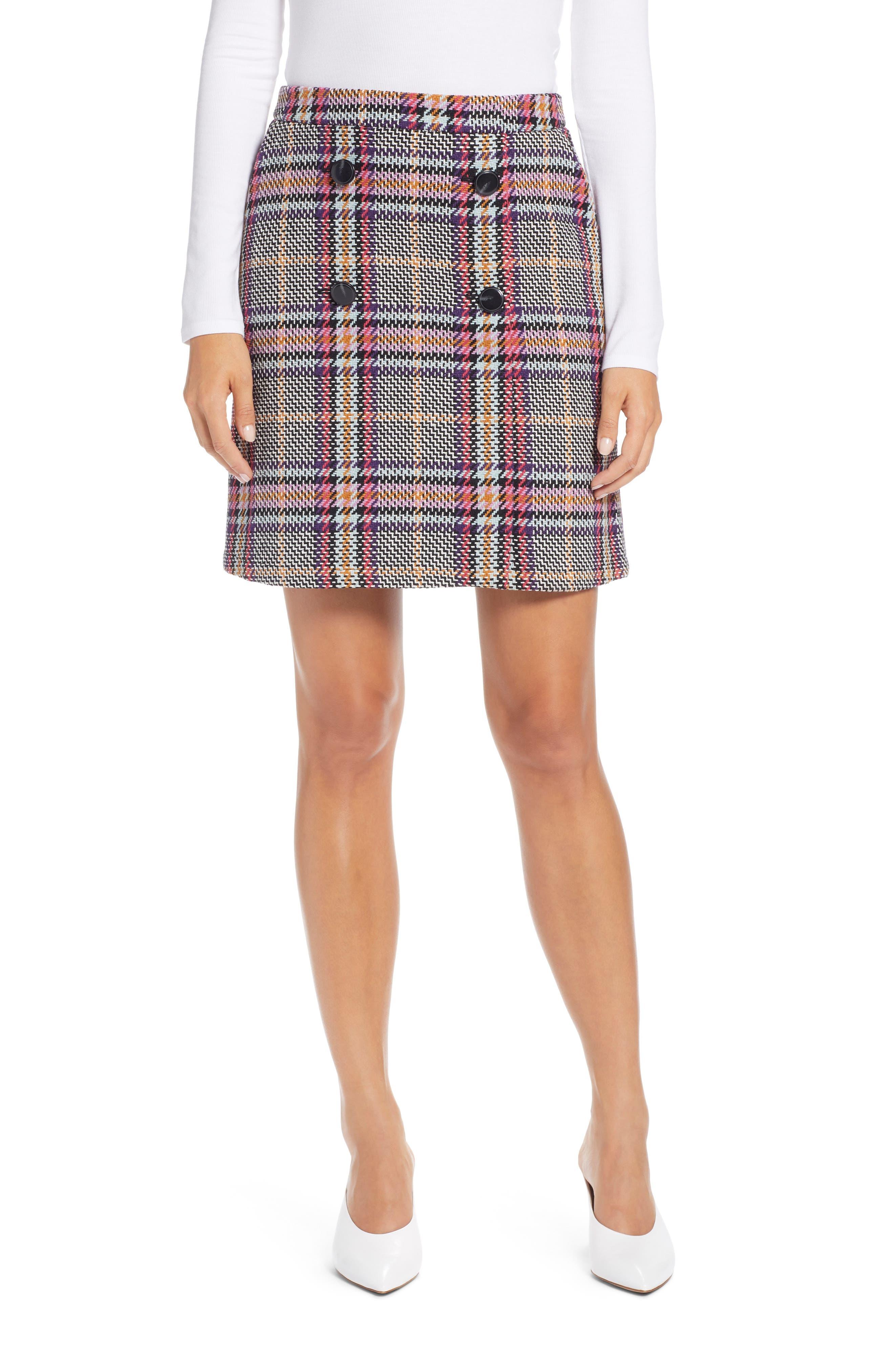 Button Detail Plaid Skirt,                             Main thumbnail 1, color,                             530