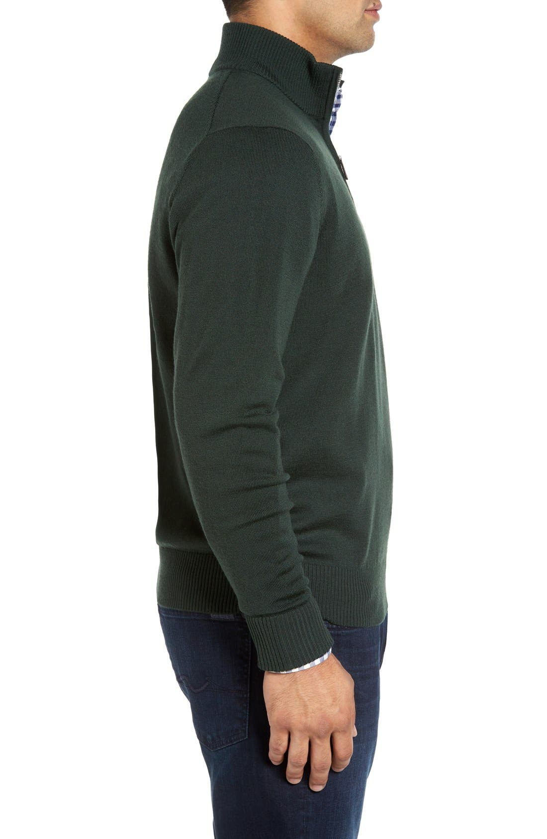 S.Cascade Quarter Zip Wool Sweater,                             Alternate thumbnail 3, color,                             310