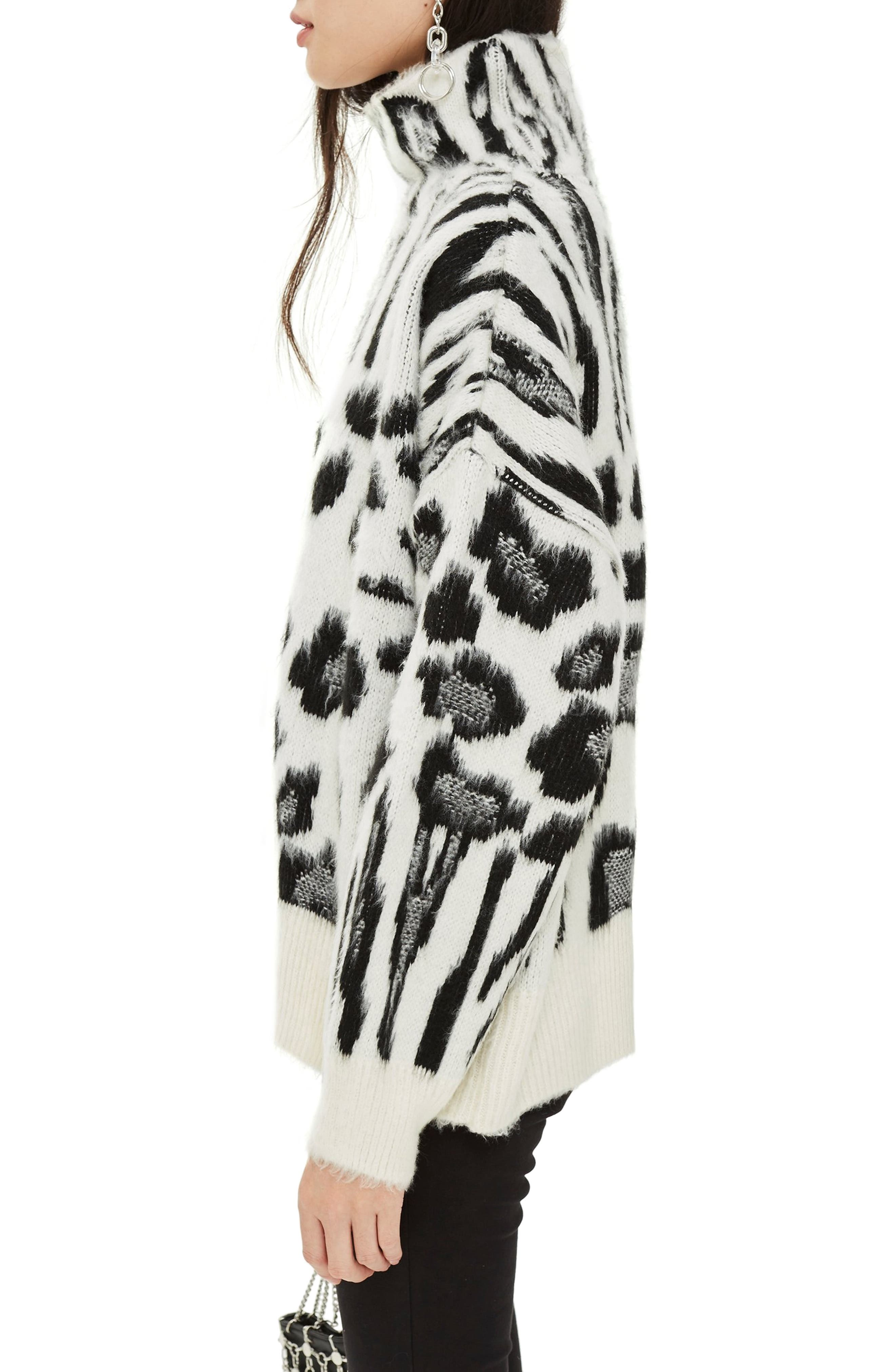 Zebra Mix Turtleneck Sweater,                             Alternate thumbnail 3, color,                             BLACK MULTI