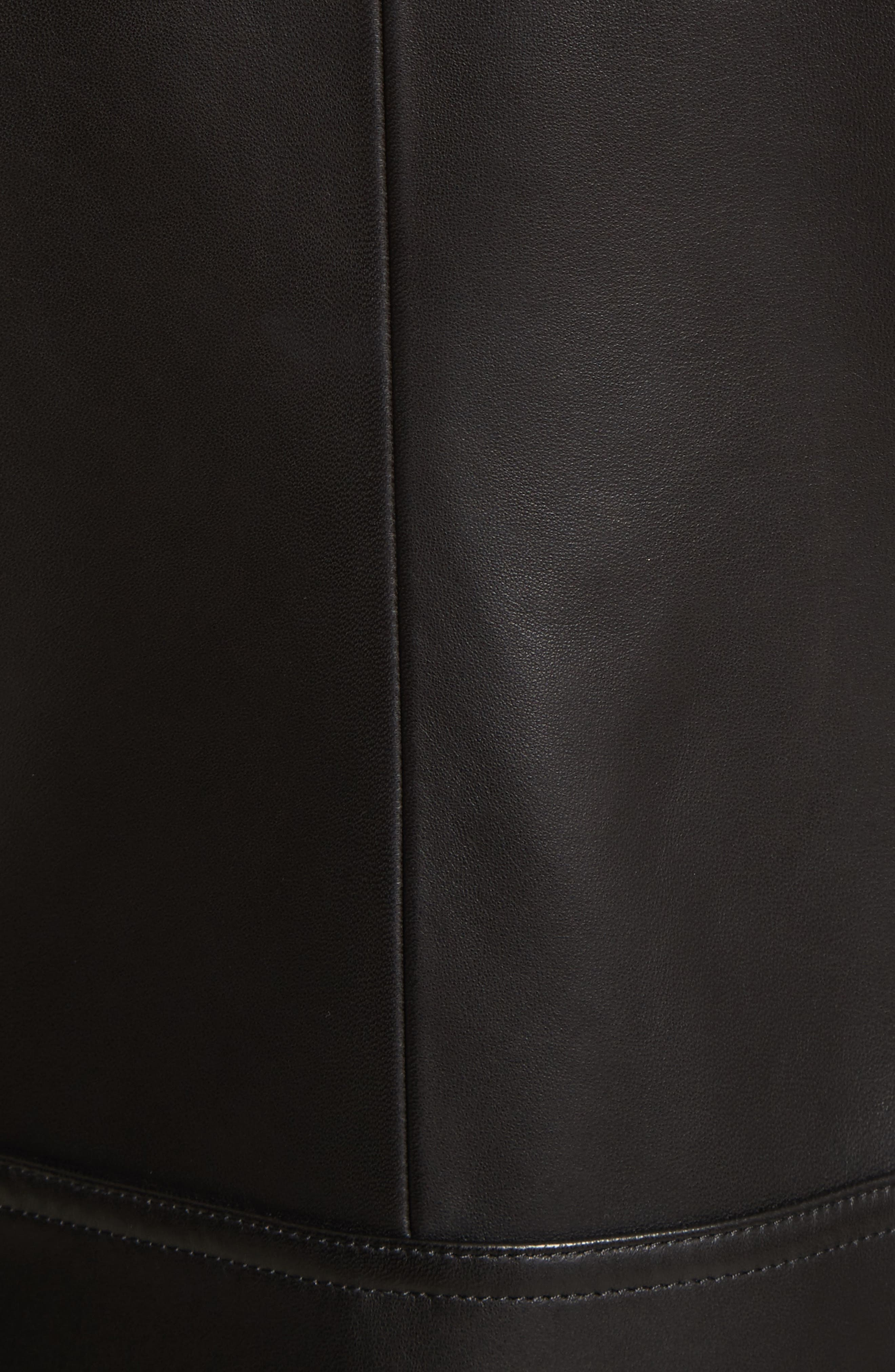 Leather Jacket with Genuine Shearling Trim,                             Alternate thumbnail 6, color,                             001
