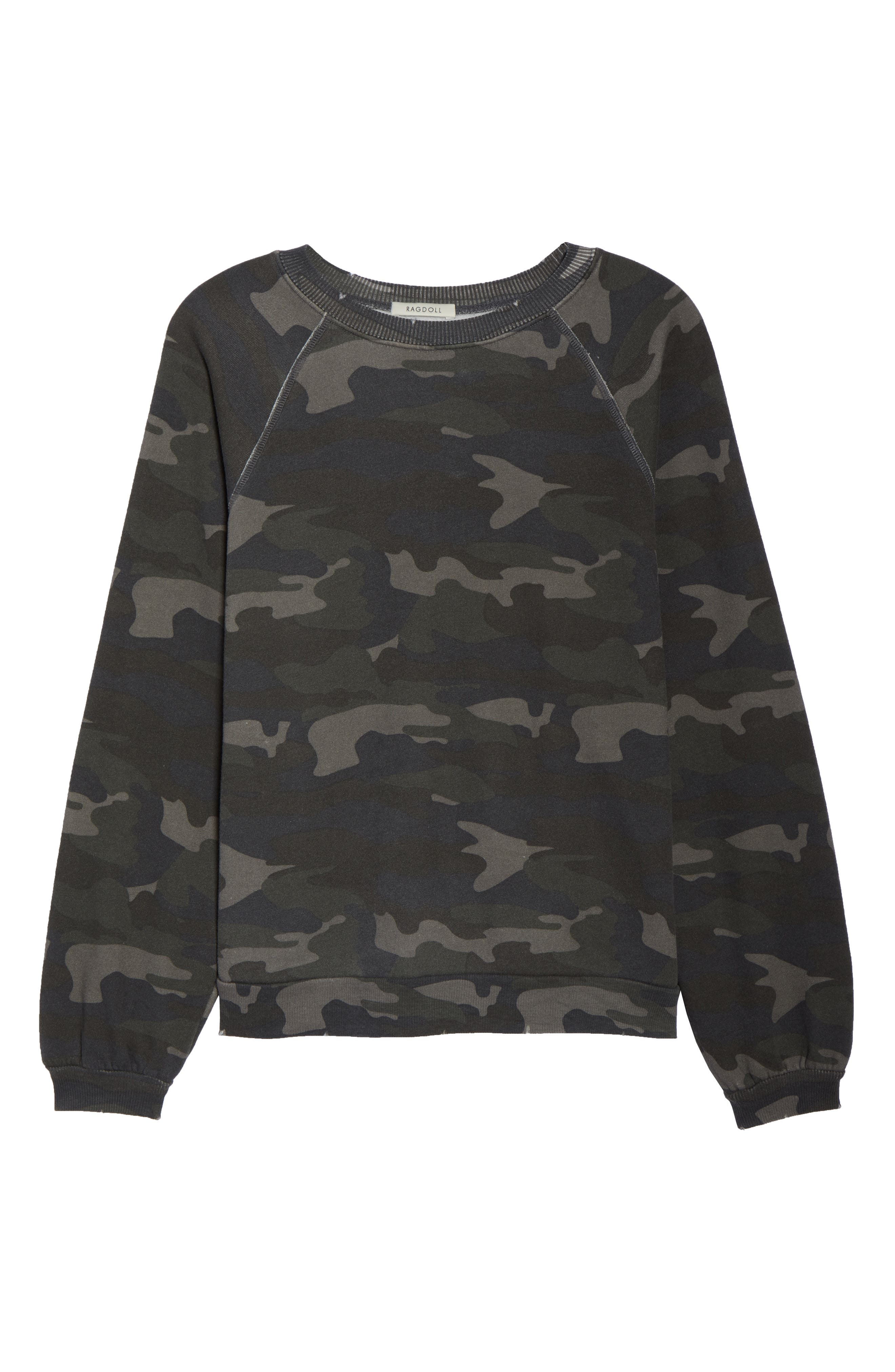 Camo Oversize Sweatshirt,                             Alternate thumbnail 6, color,                             CAMO