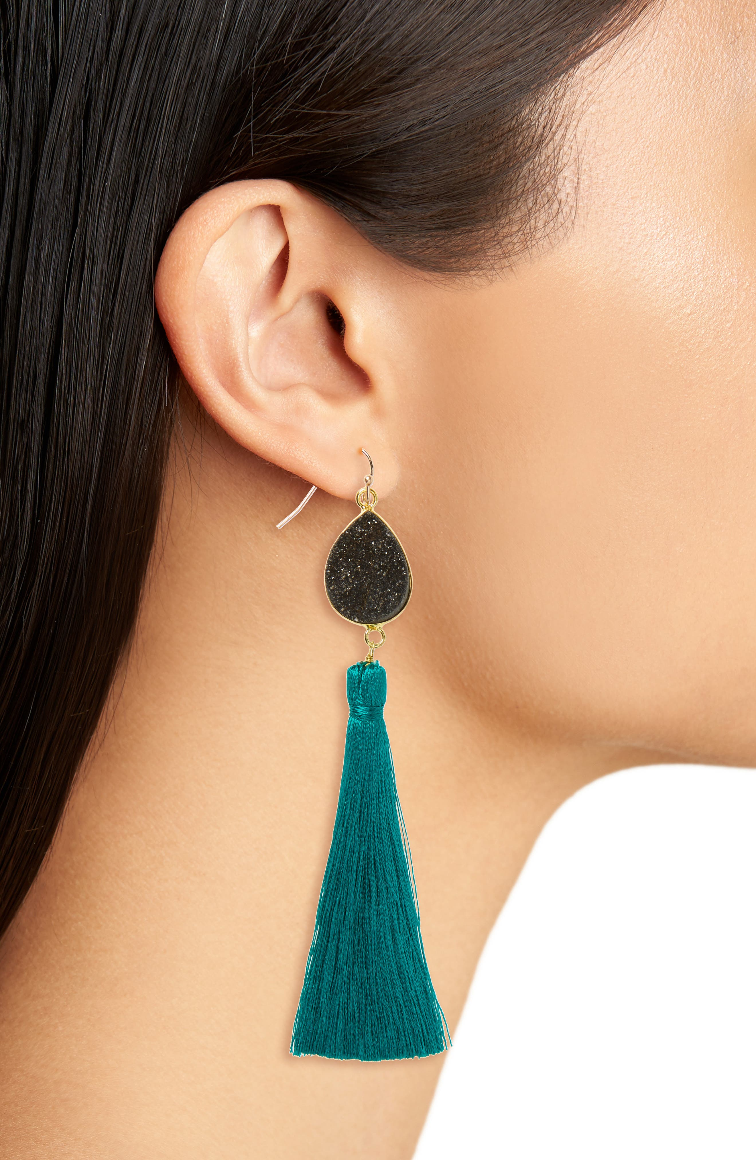 Drusy Tassel Earrings,                             Alternate thumbnail 2, color,                             001