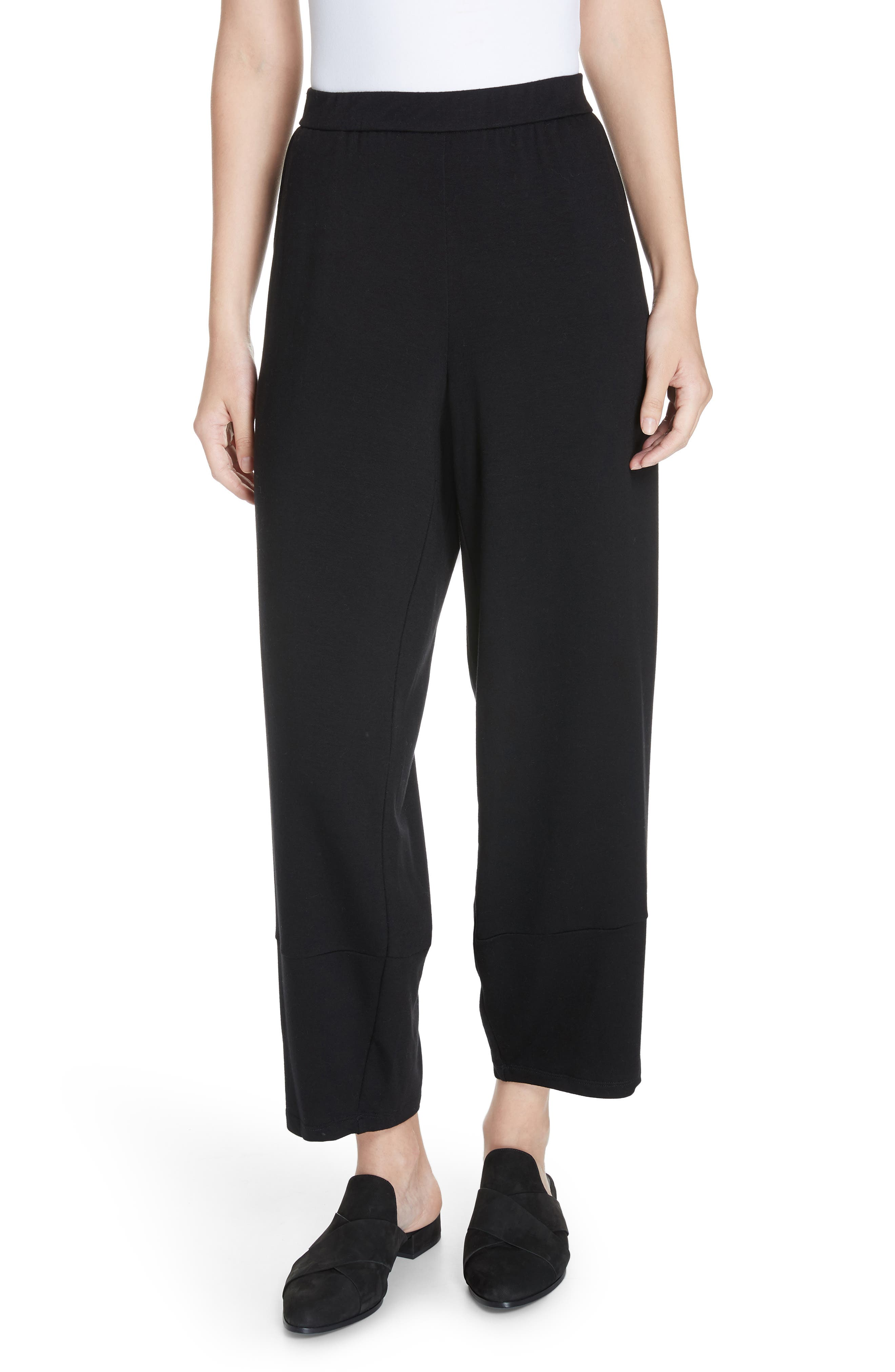 Terry Lantern High Rise Ankle Pants,                         Main,                         color, BLACK