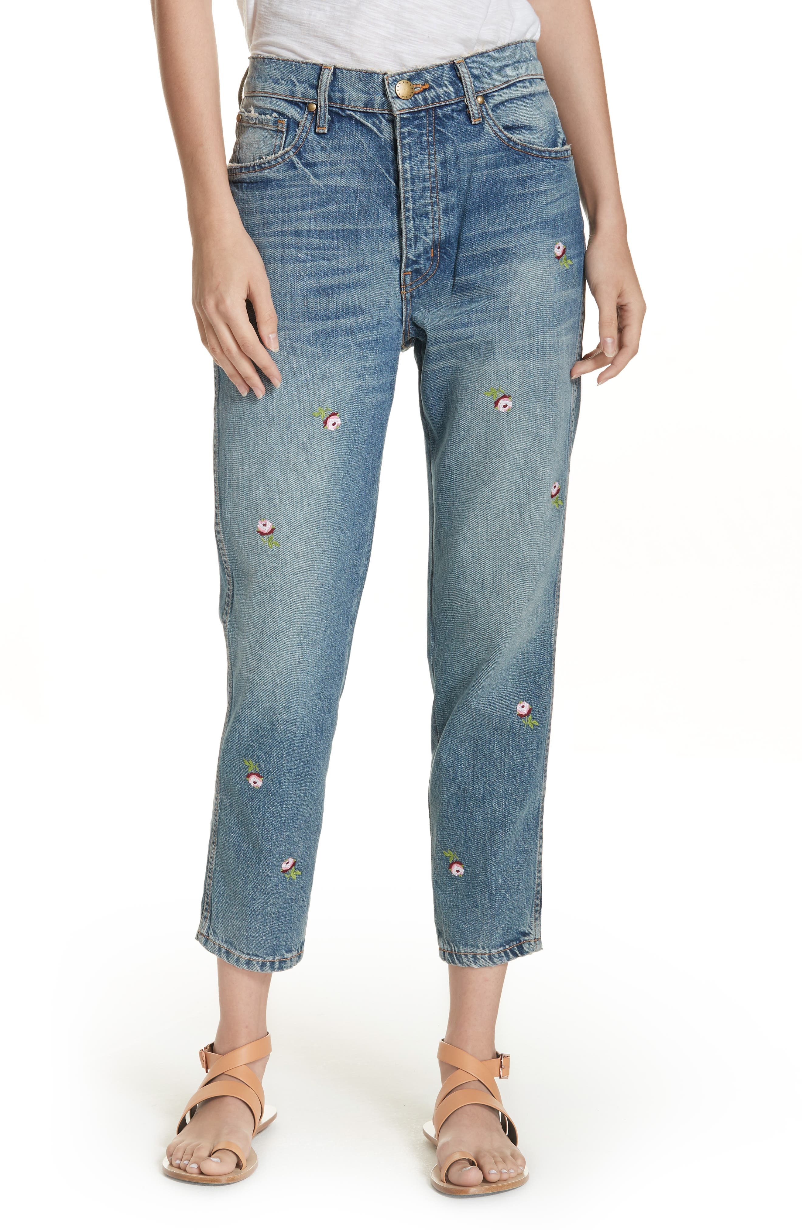 The Rigid Fellow Floral Embroidered Jeans,                             Main thumbnail 1, color,                             PRAIRIE WASH W/ ROSETTE