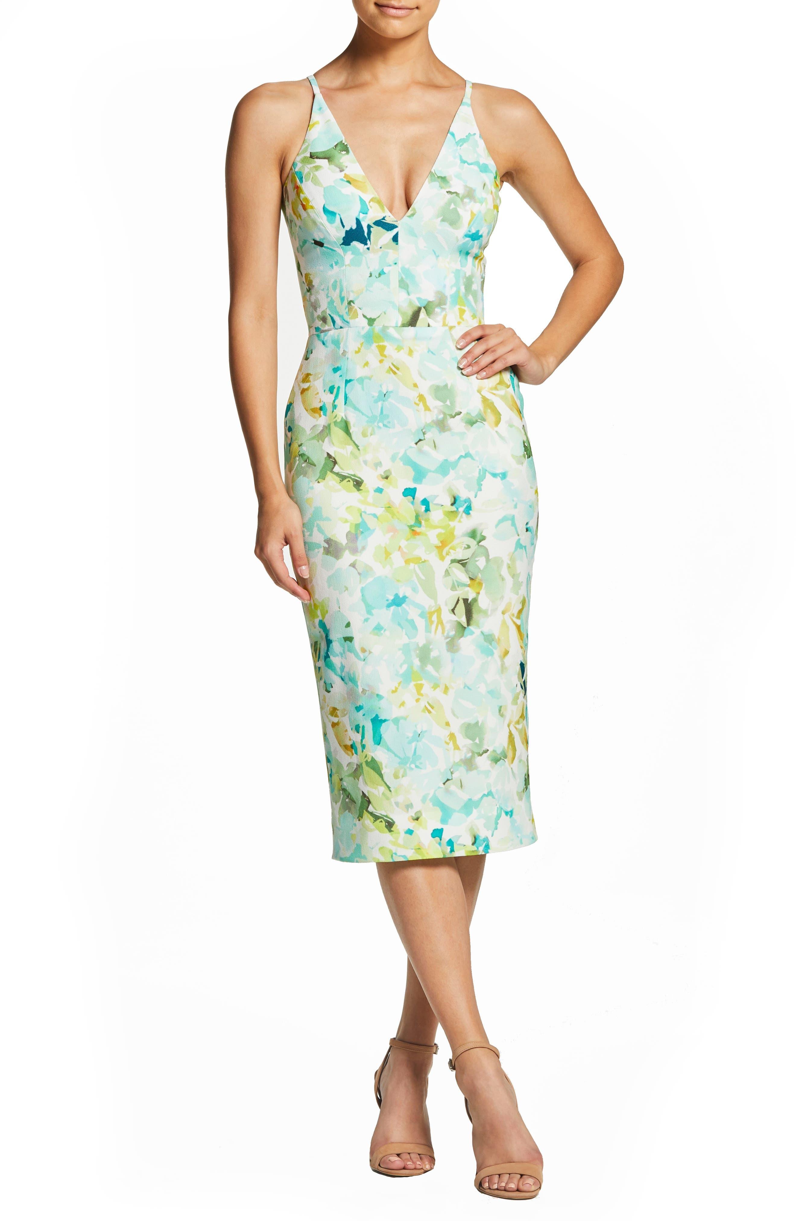 Dress The Population Lyla Watercolor Crepe Sheath Dress, Blue/green