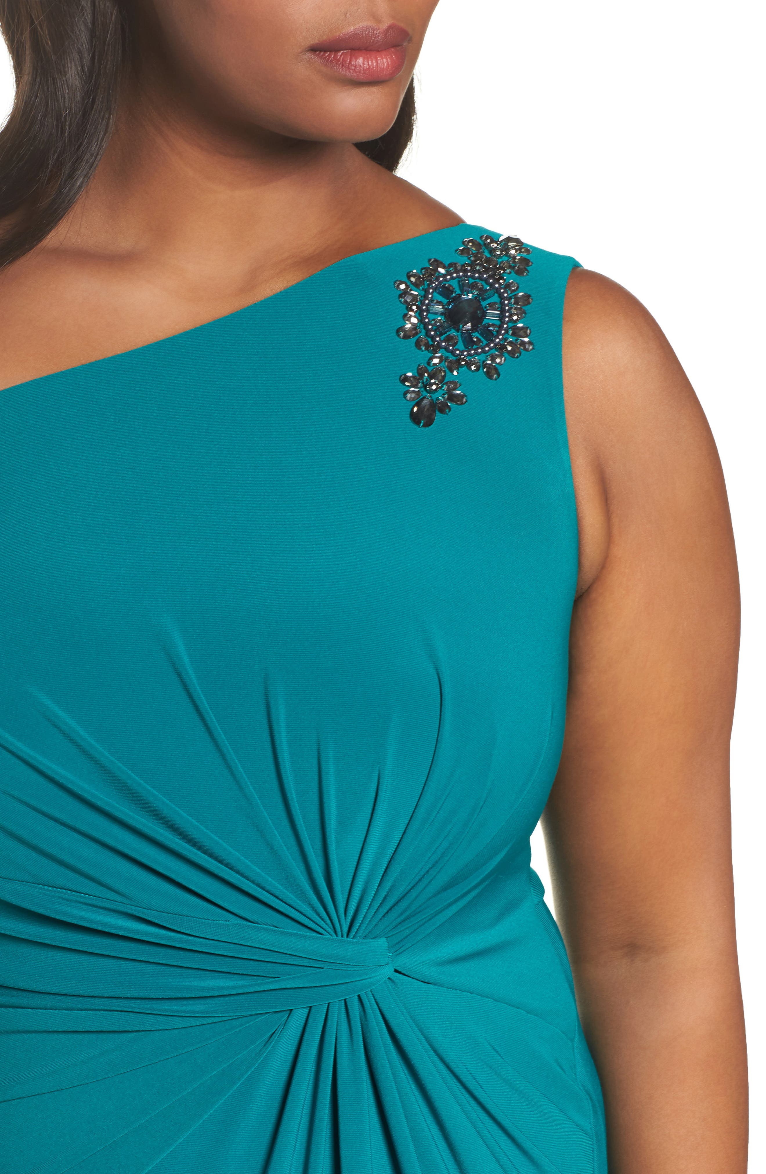 Embellished One-Shoulder Column Gown,                             Alternate thumbnail 4, color,