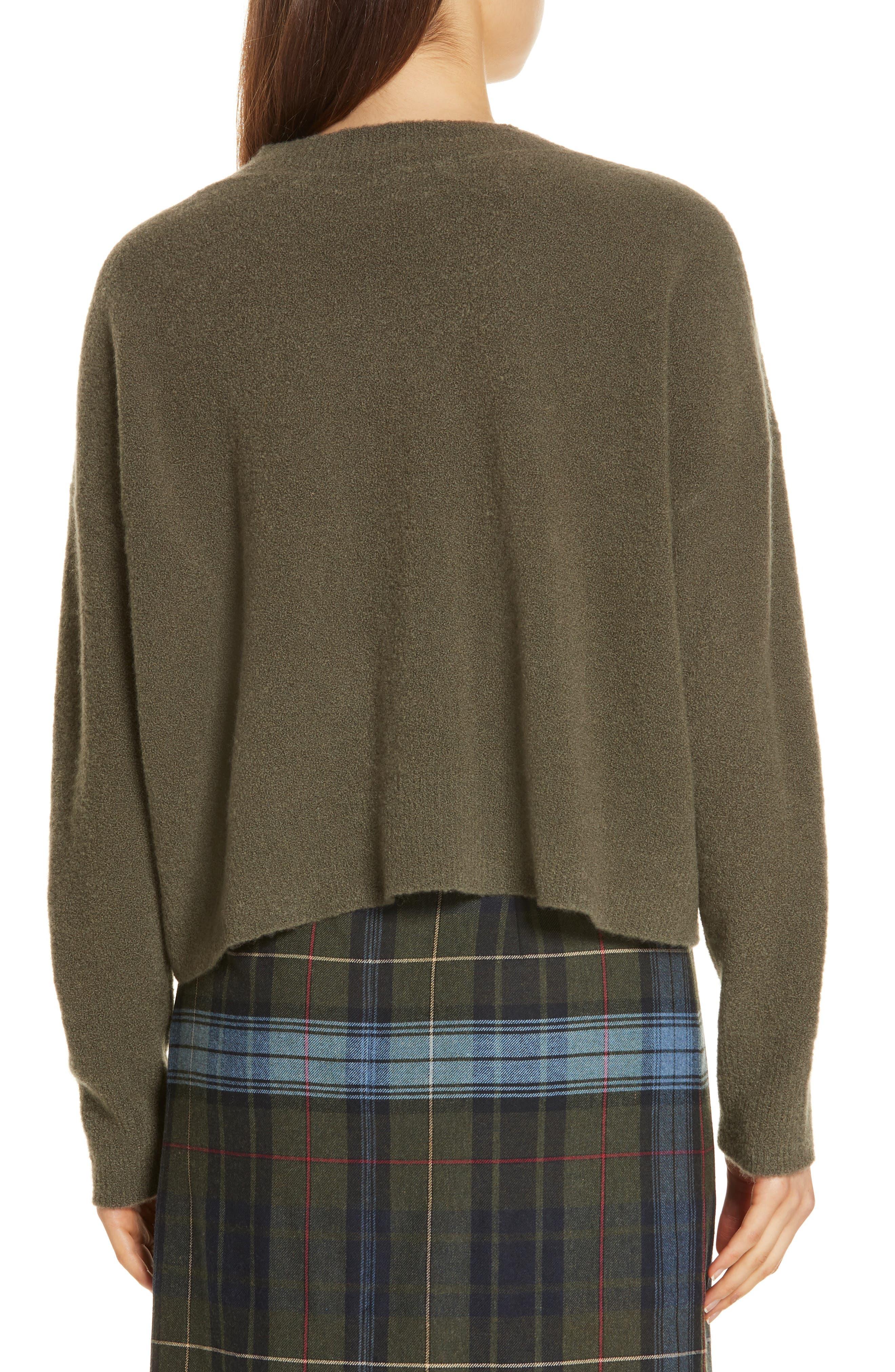 Cashmere Blend Bouclé Sweater,                             Alternate thumbnail 2, color,                             OLIVE IVY HEATHER