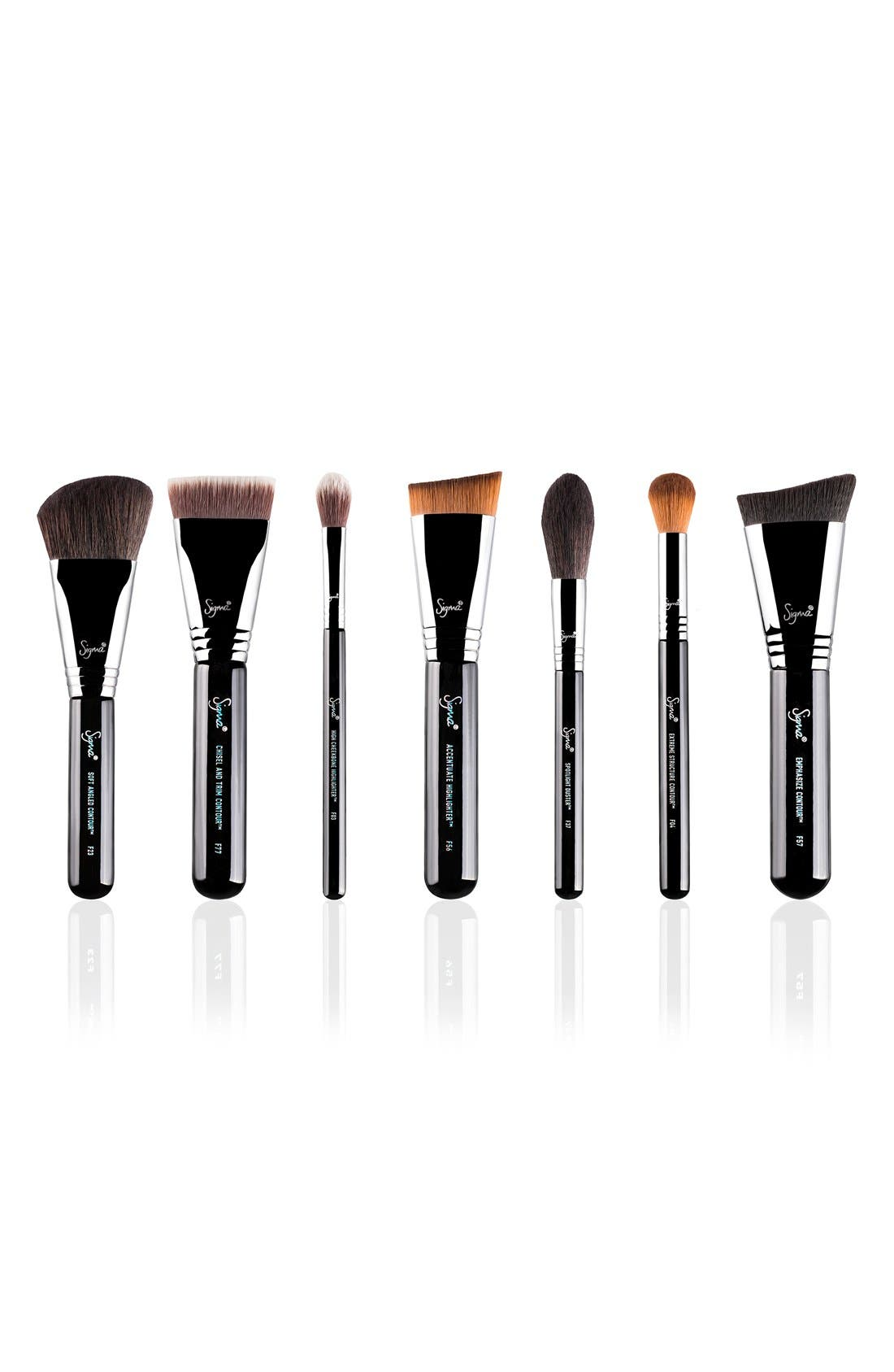Complete Highlight & Contour Luxe Brush Set,                             Main thumbnail 1, color,                             000