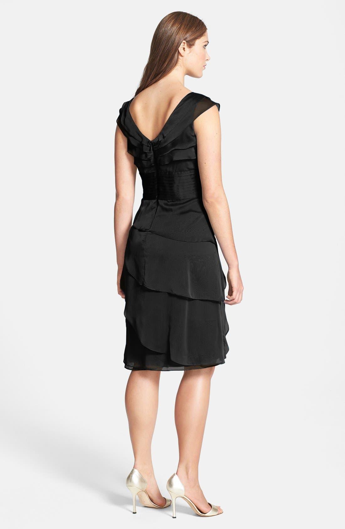 Tiered Chiffon Dress,                             Alternate thumbnail 2, color,                             001