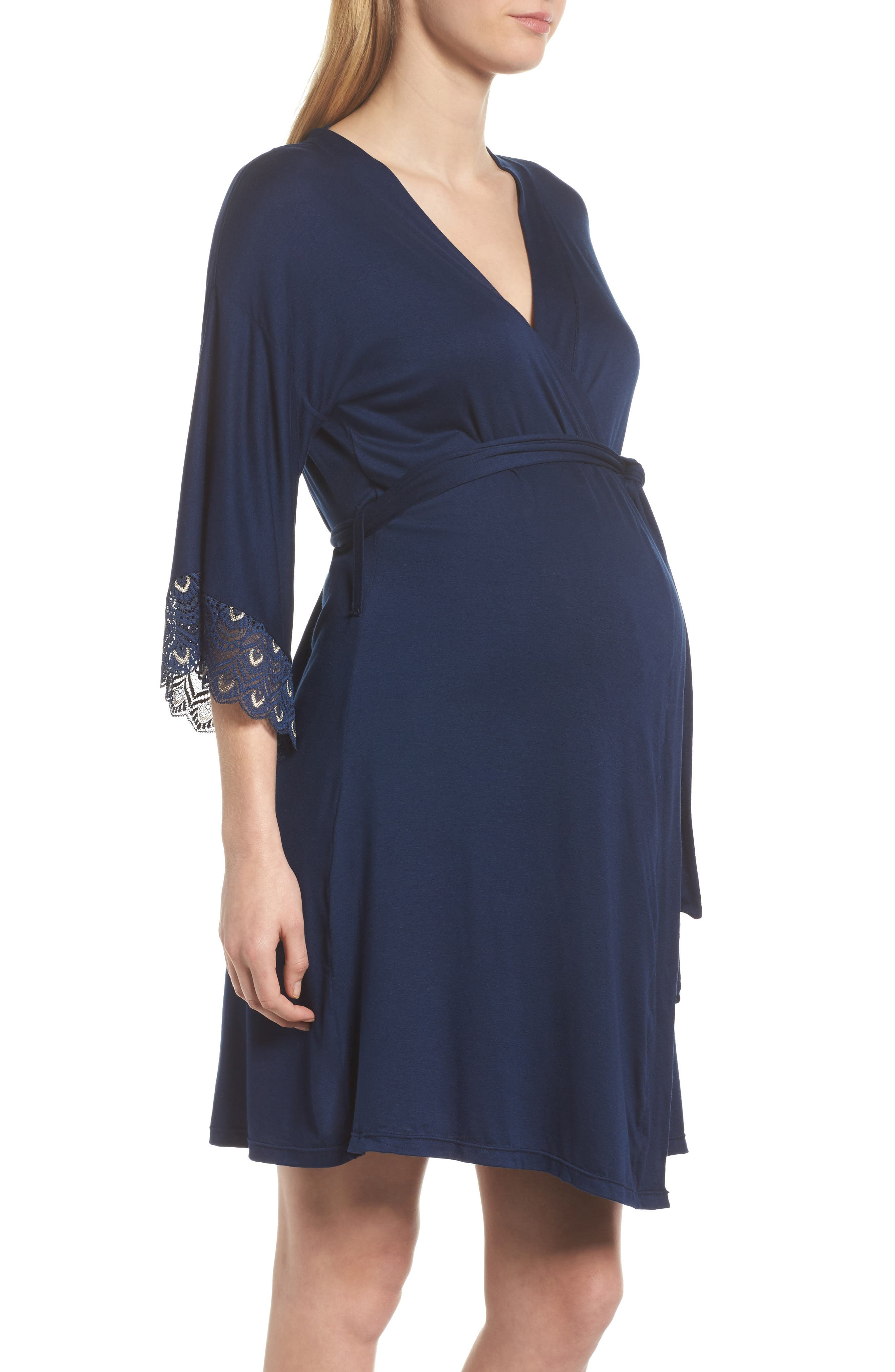 'Tallulah' Maternity Jersey Robe,                             Alternate thumbnail 4, color,
