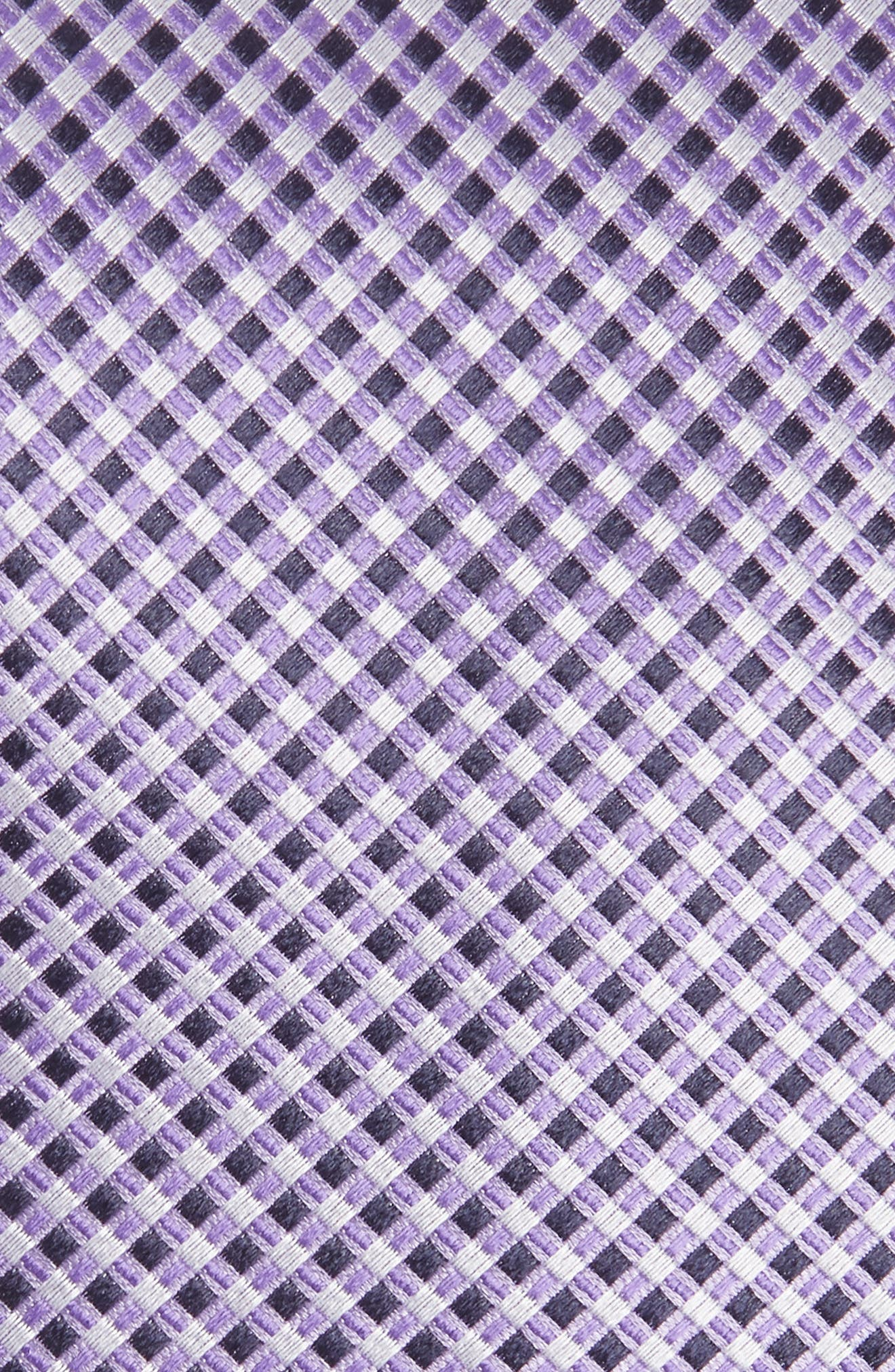 Geometric Silk Tie,                             Alternate thumbnail 2, color,                             BRIGHT PURPLE