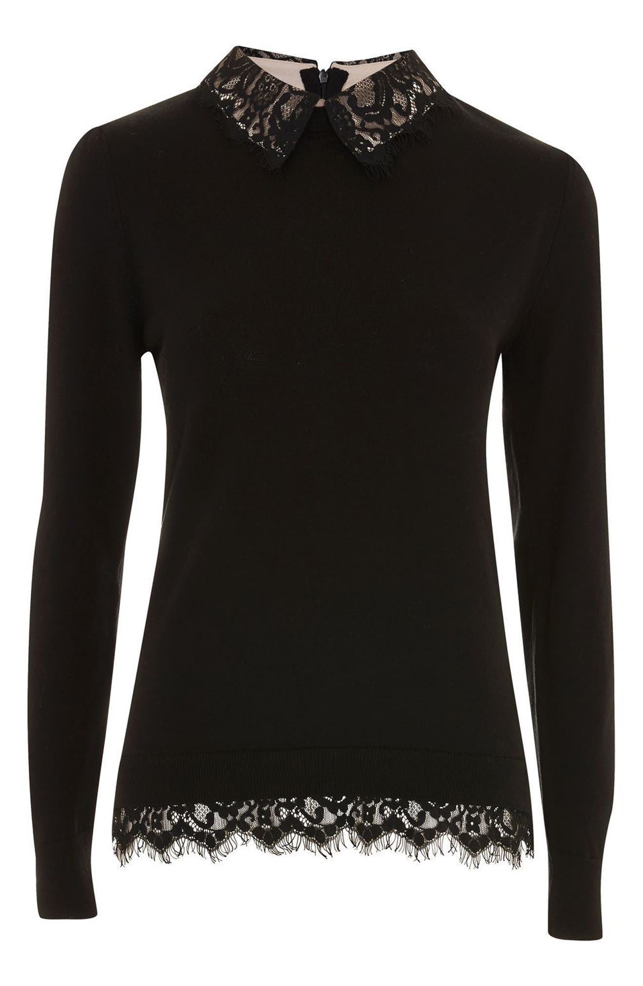 Lace Collar Hybrid Sweater,                             Alternate thumbnail 4, color,                             001
