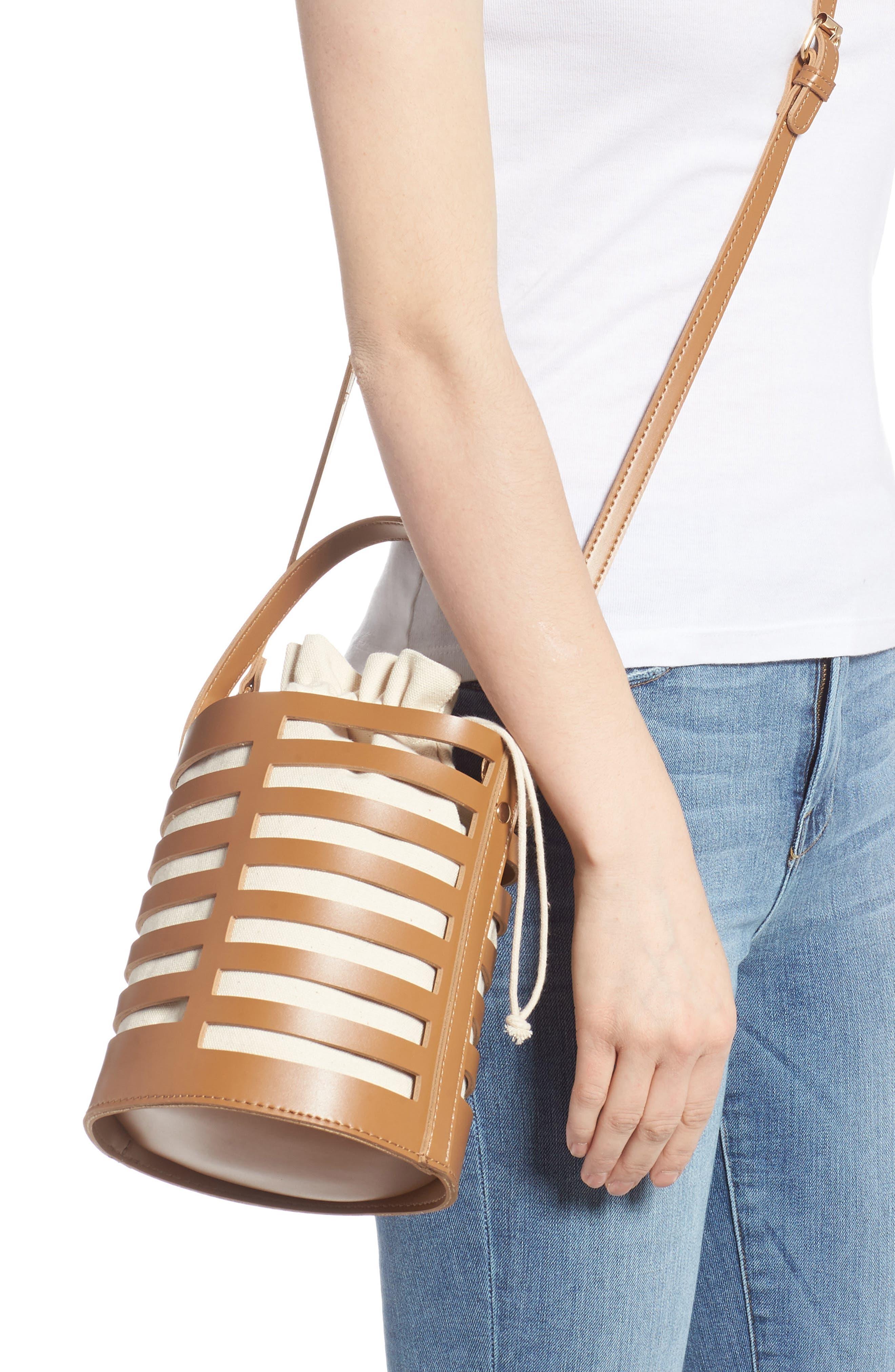 Cutout Round Bucket Crossbody Bag,                             Alternate thumbnail 2, color,                             TAN