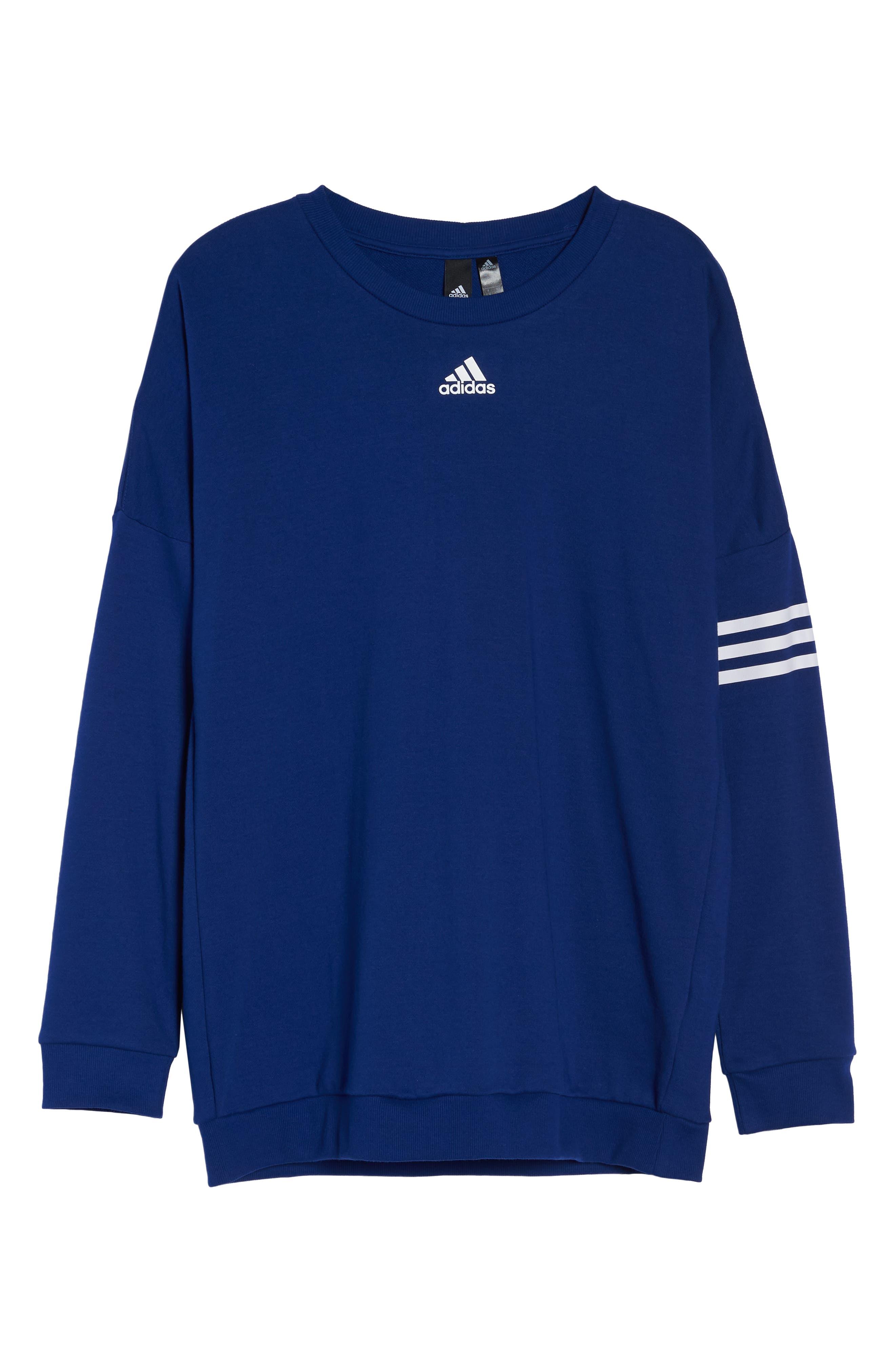 adidas Oversize Crewneck Sweatshirt,                             Alternate thumbnail 7, color,                             MYSTERY INK