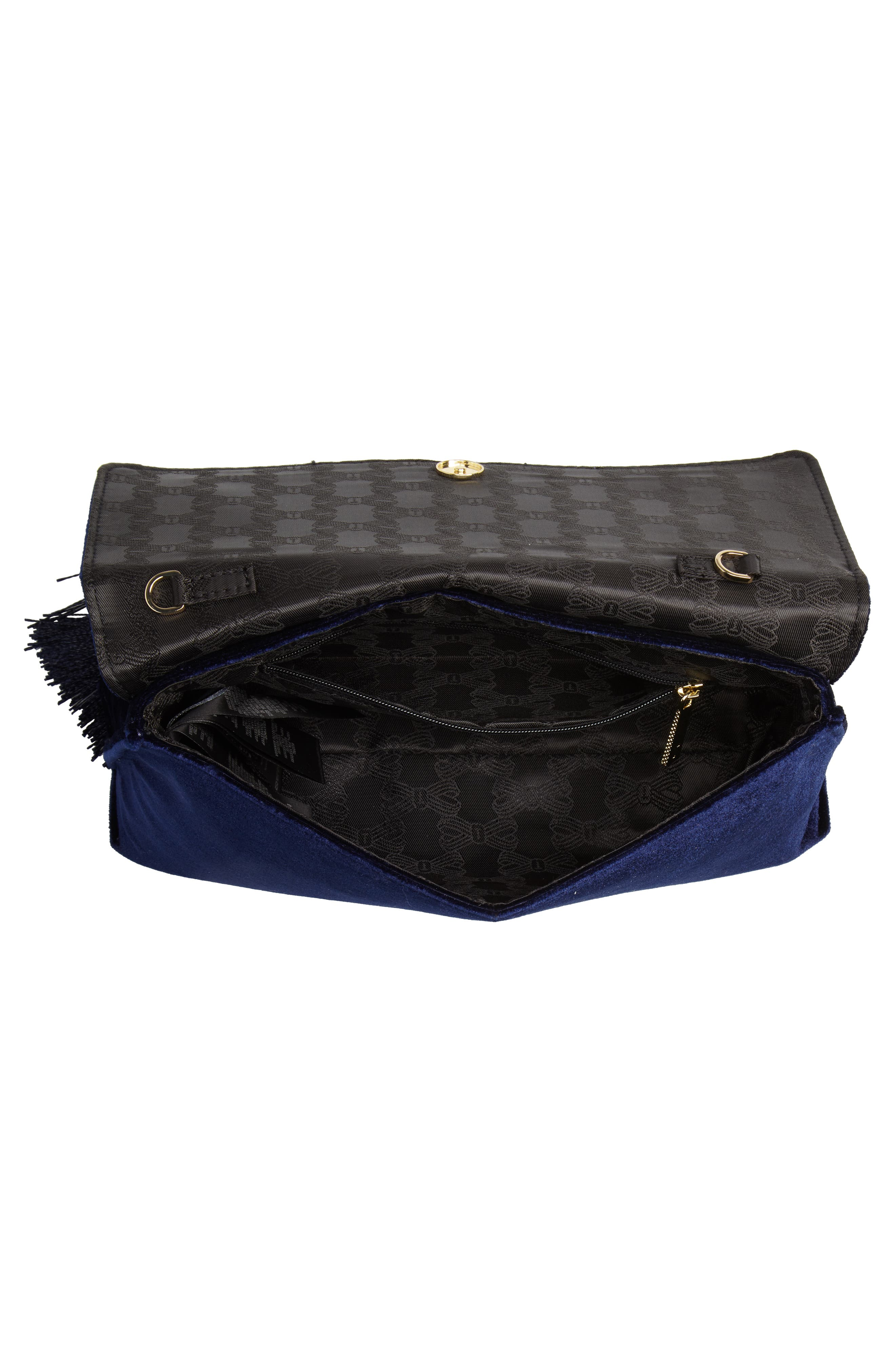 Kasia Beaded Dragonfly Velvet Clutch,                             Alternate thumbnail 4, color,                             DARK BLUE