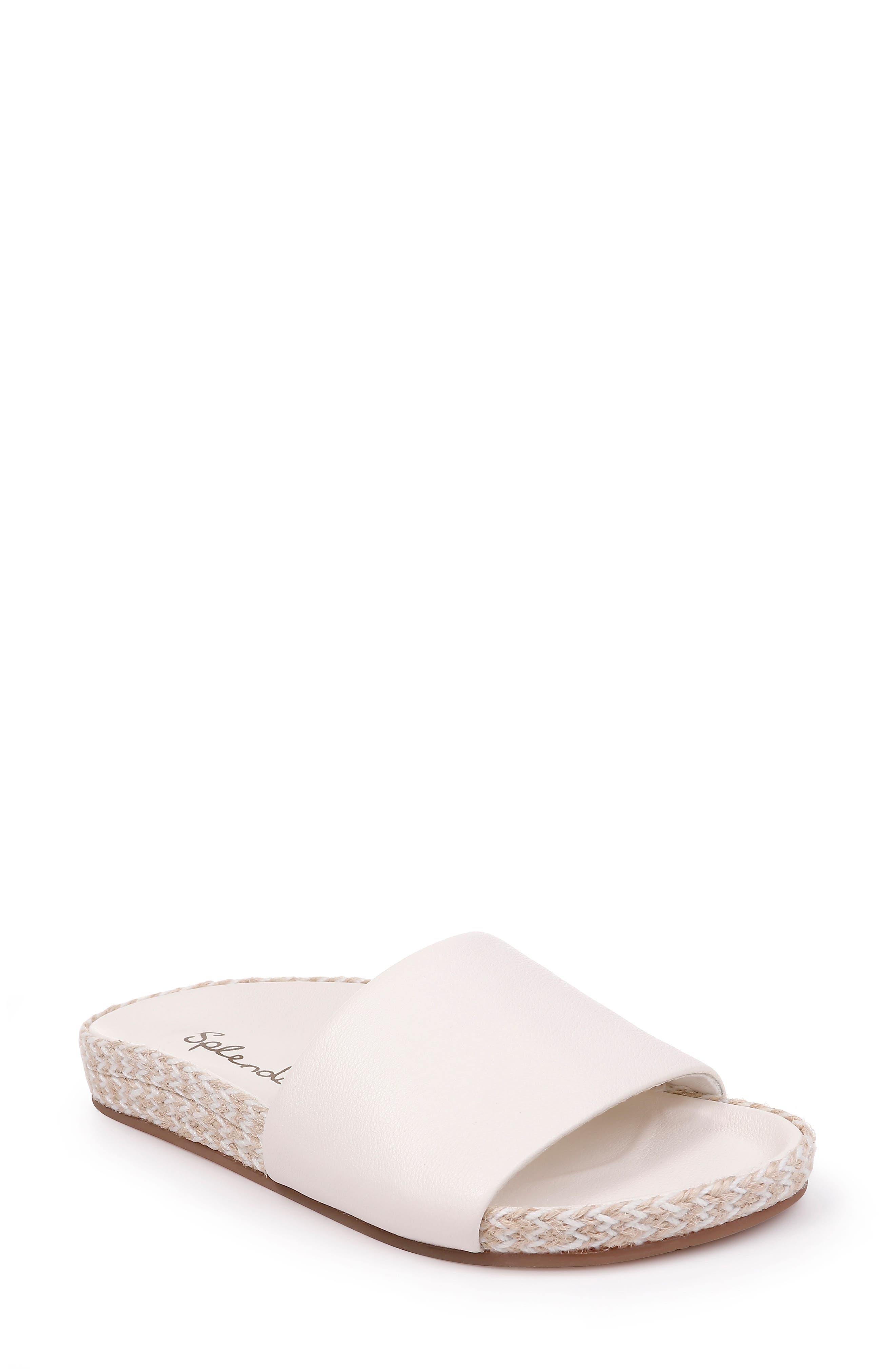 Sandford Espadrille Slide Sandal,                             Main thumbnail 1, color,                             OFF WHITE LEATHER