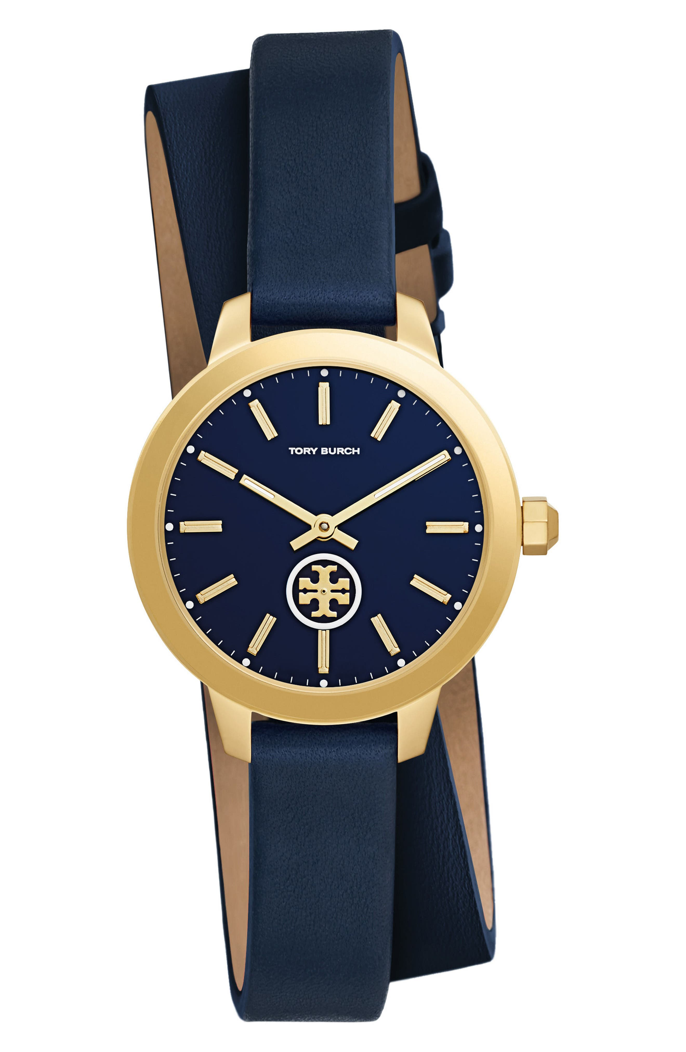 Collins Double Wrap Leather Strap Watch, 32mm,                         Main,                         color, NAVY/ GOLD