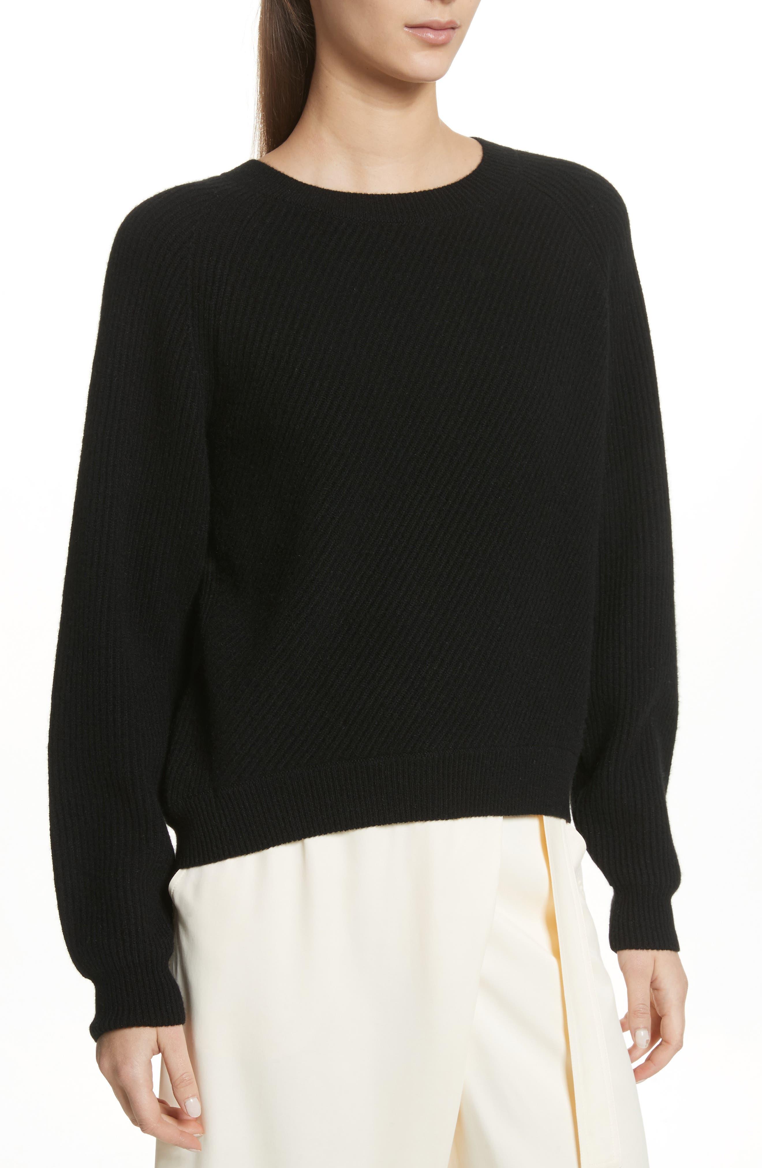 Diagonal Rib Wool & Cashmere Sweater,                         Main,                         color, 001