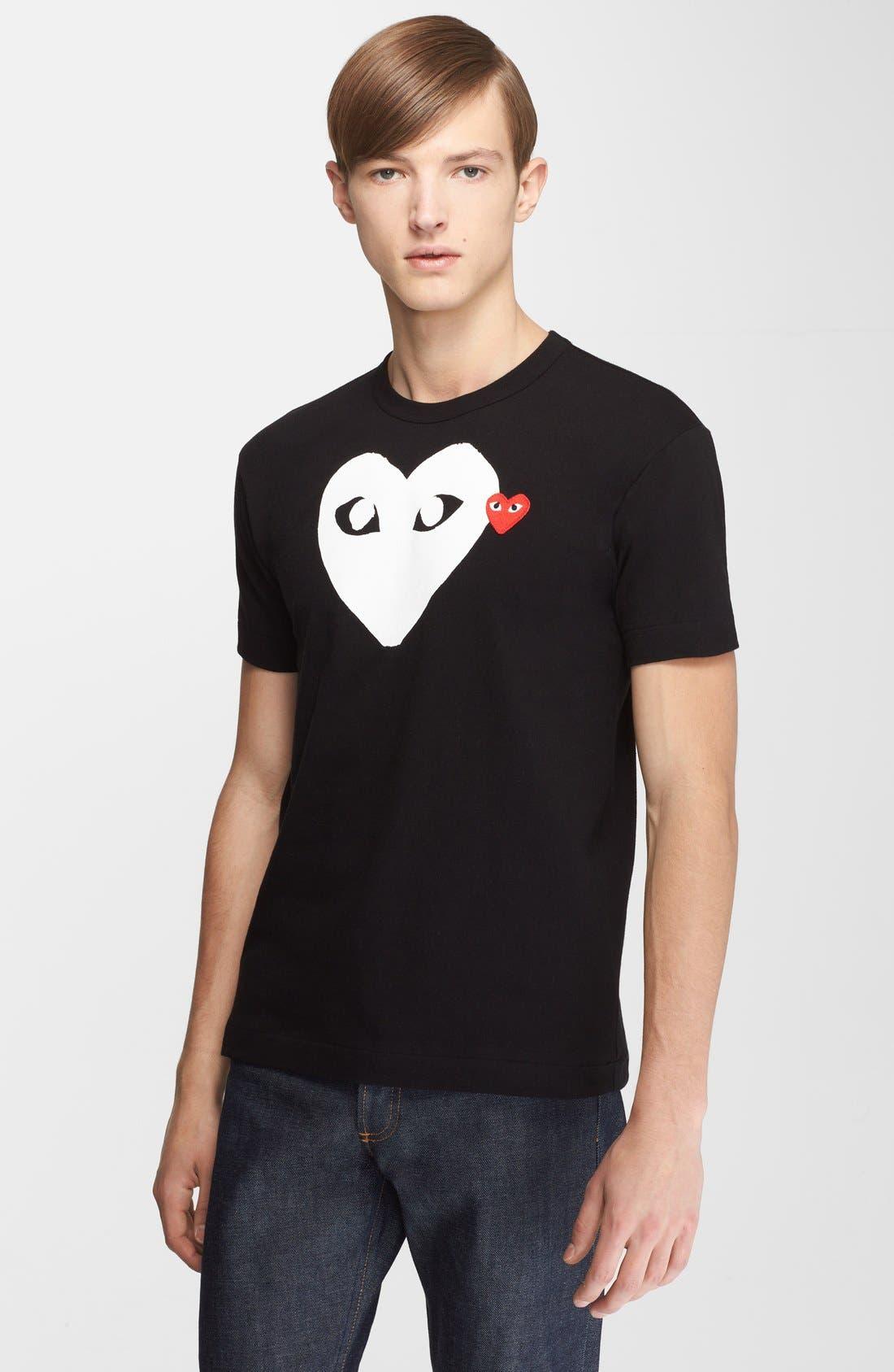 X-Ray Heart Logo T-Shirt,                             Main thumbnail 1, color,                             BLACK