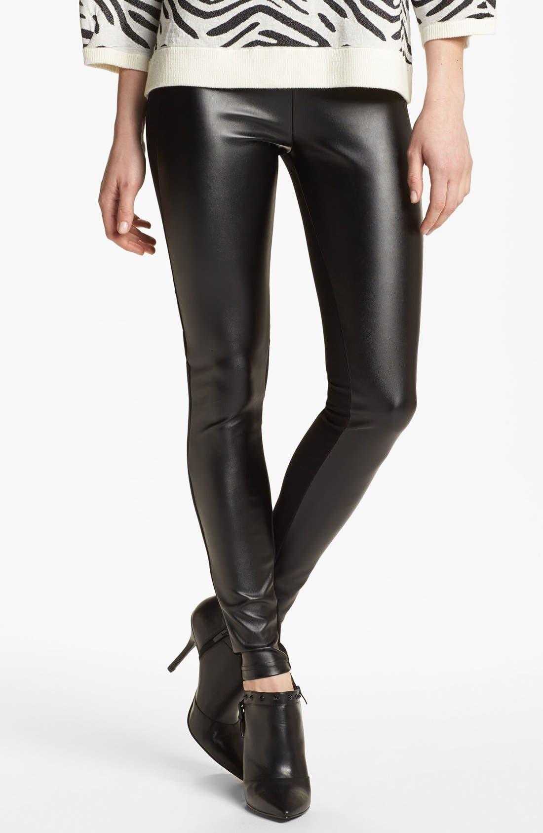 'Double Trouble' Knit & Faux Leather Leggings,                         Main,                         color,