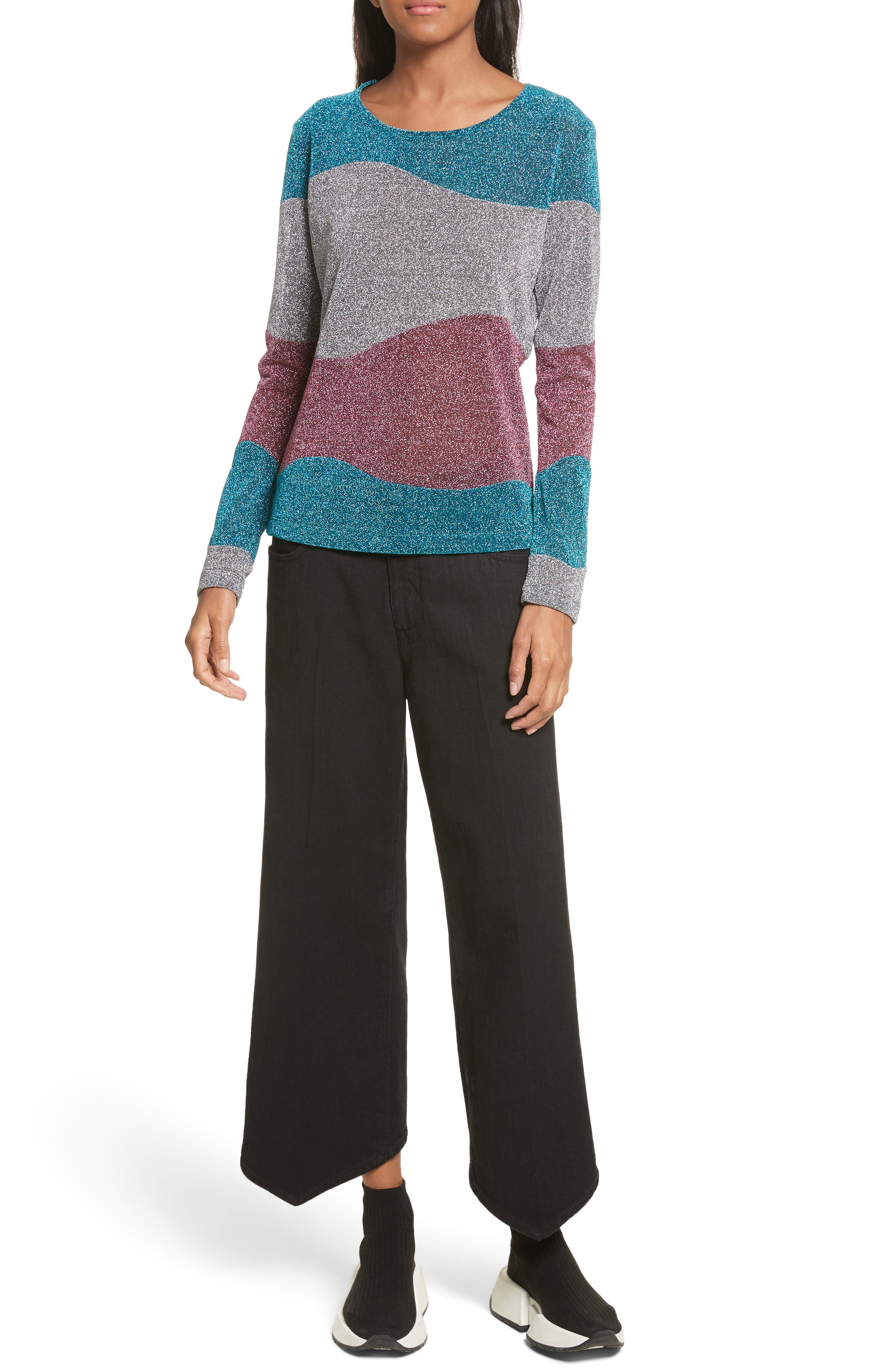 Metallic Knit Sweater,                             Alternate thumbnail 7, color,