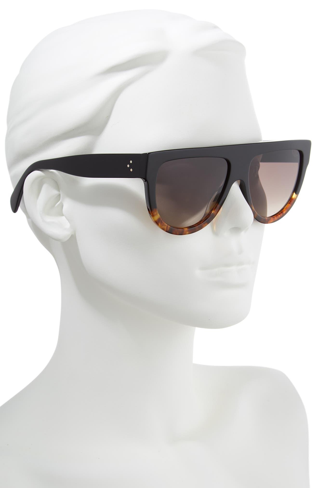 Flat Top Sunglasses,                             Alternate thumbnail 3, color,                             BLACK/ HAVANA/ SMOKE