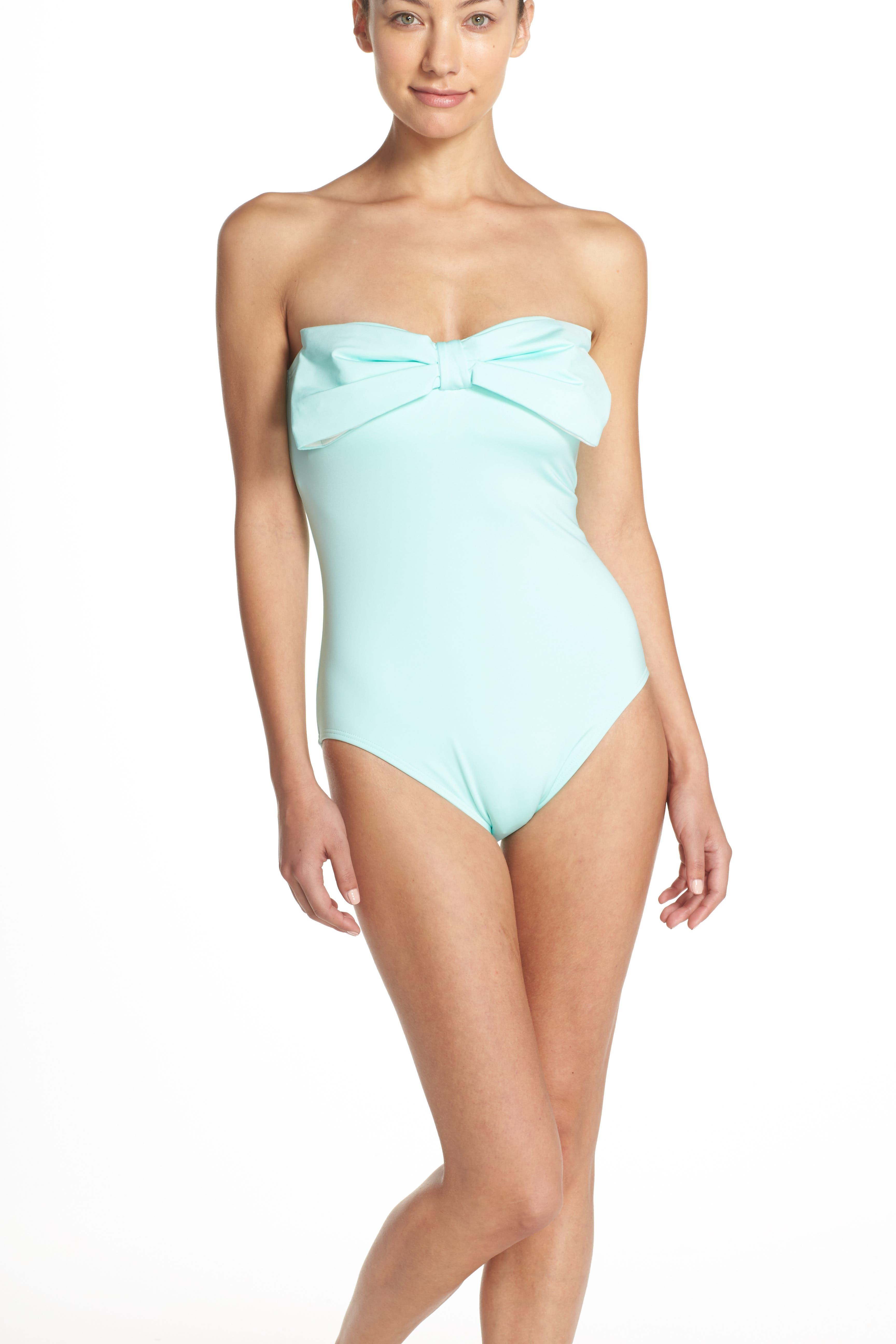 bow neck one-piece swimsuit,                             Alternate thumbnail 7, color,