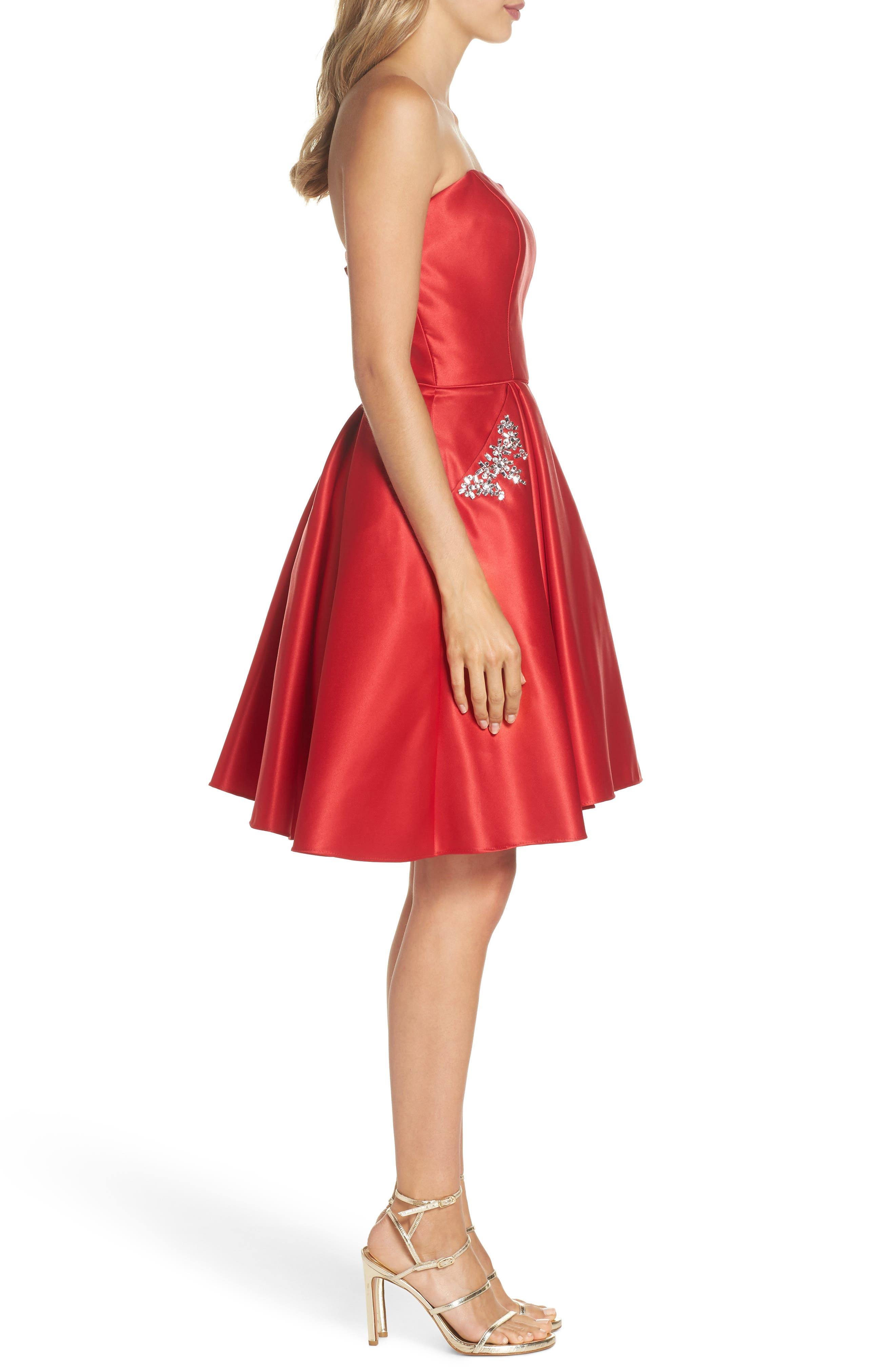 Strapless Satin Fit & Flare Party Dress,                             Alternate thumbnail 3, color,                             RED