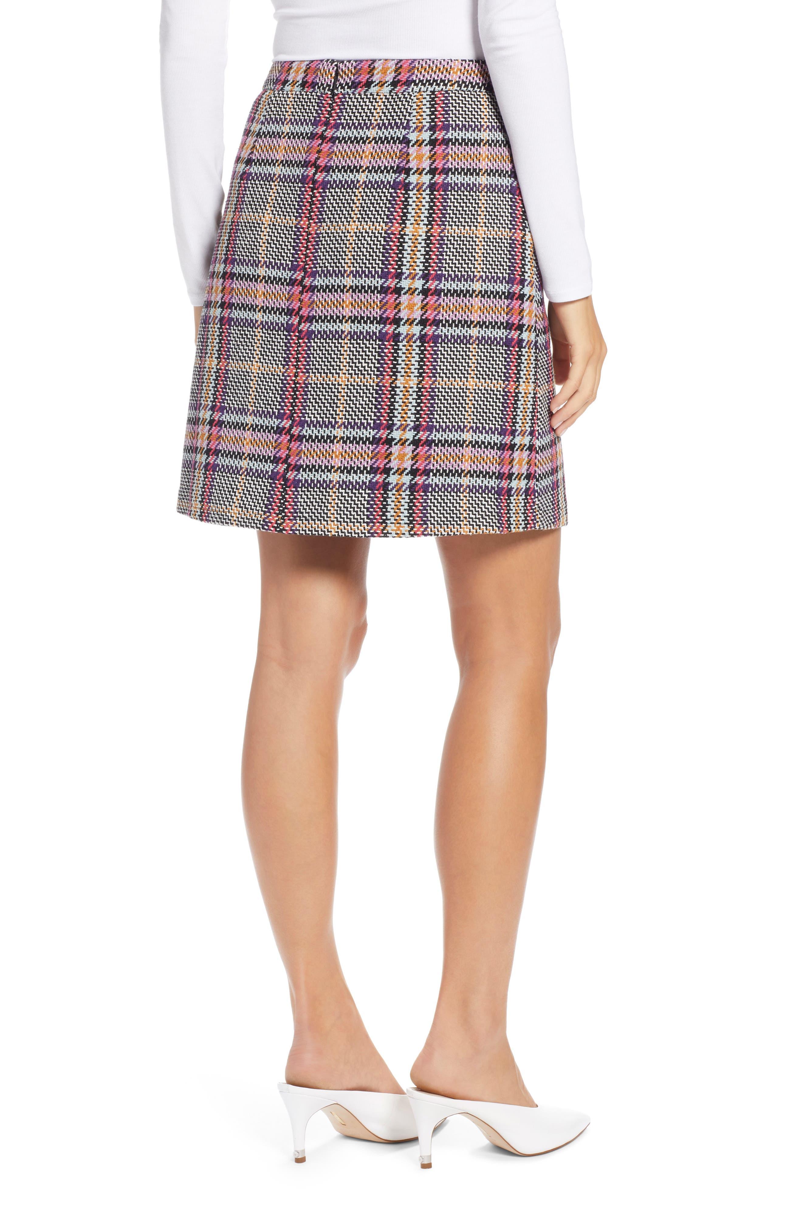 Button Detail Plaid Skirt,                             Alternate thumbnail 2, color,                             530