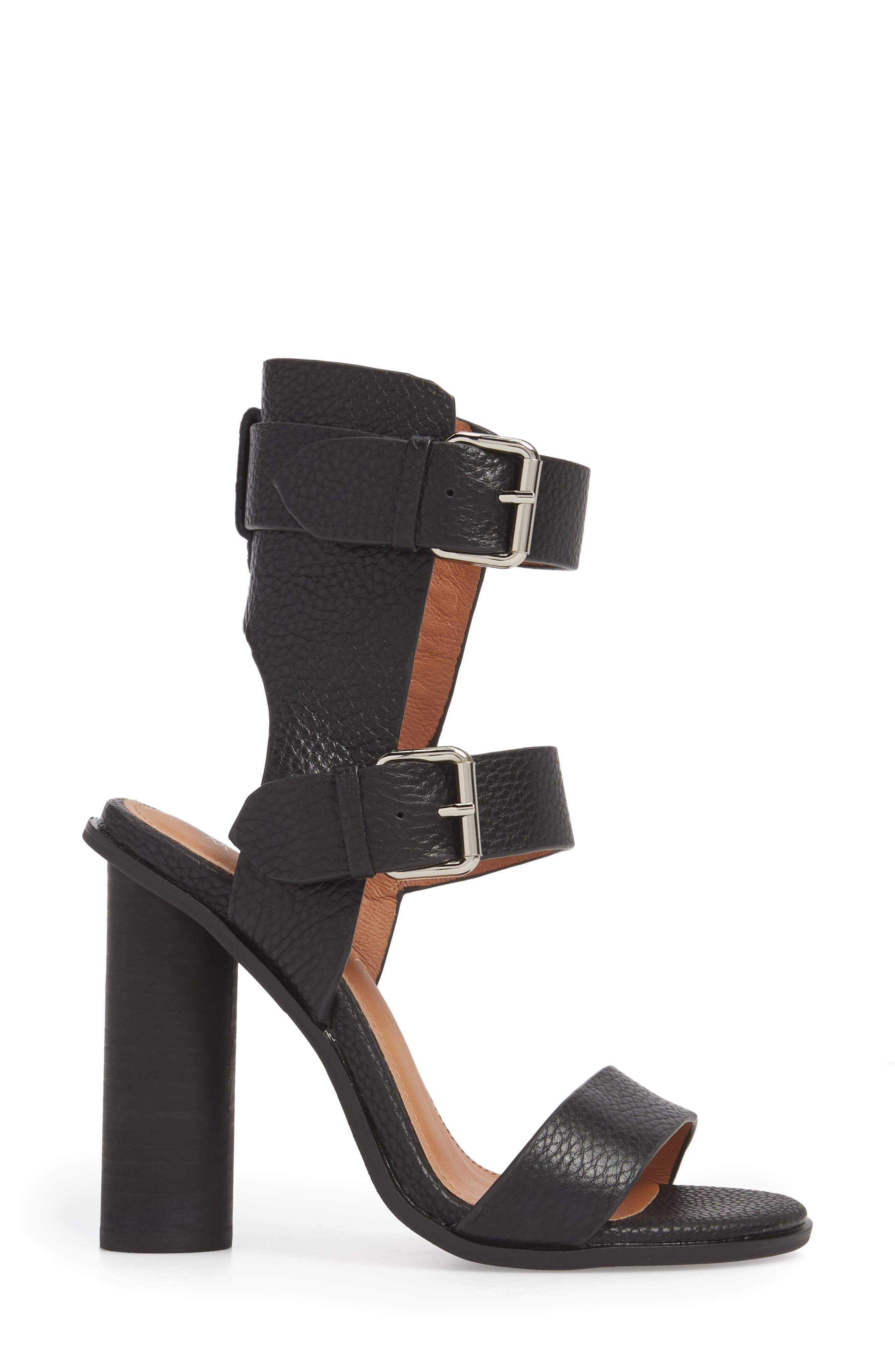 Abeba Block Heel Sandal,                             Alternate thumbnail 3, color,                             BLACK LEATHER