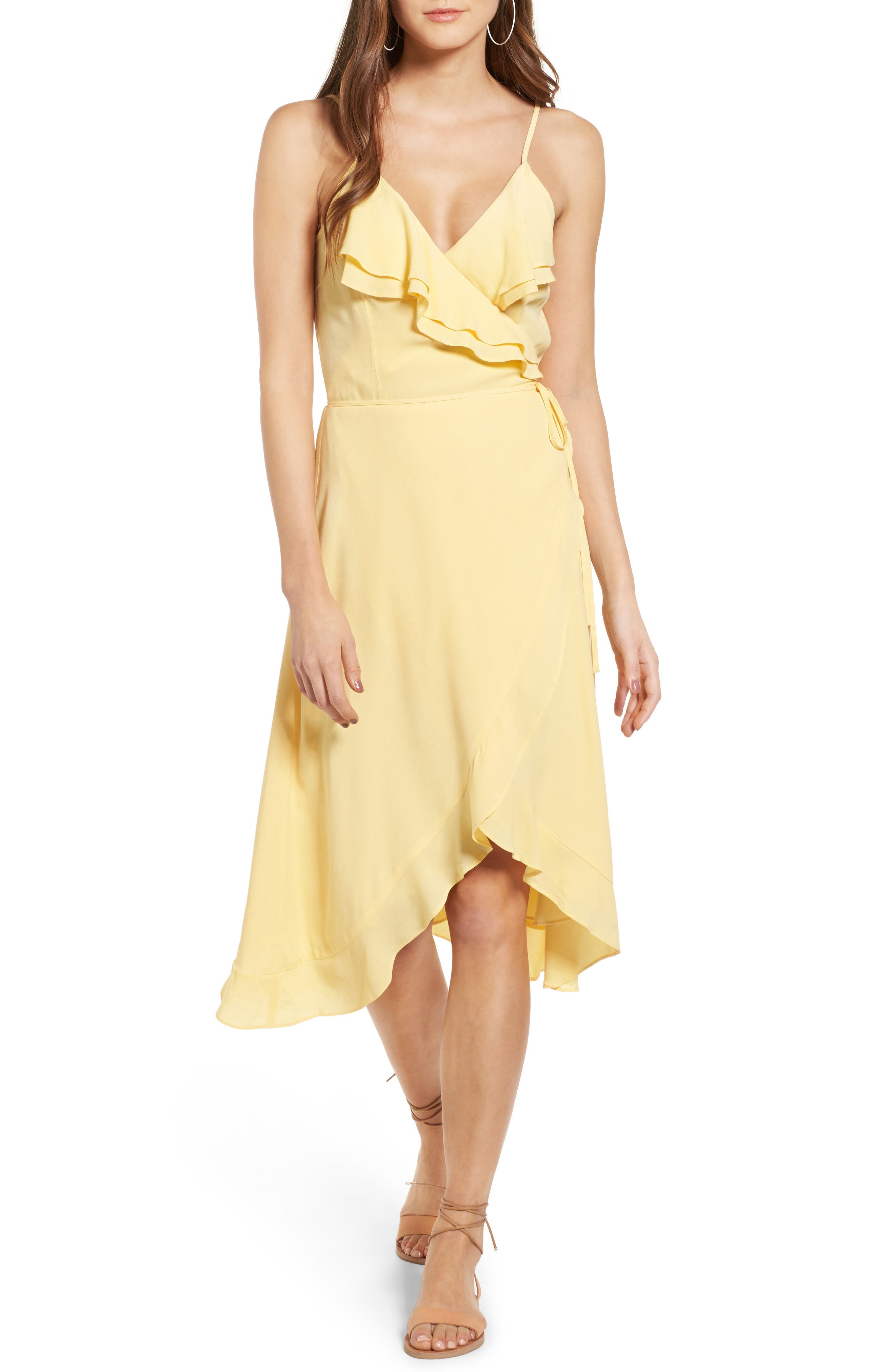 Flounce Wrap Midi Dress,                             Main thumbnail 4, color,