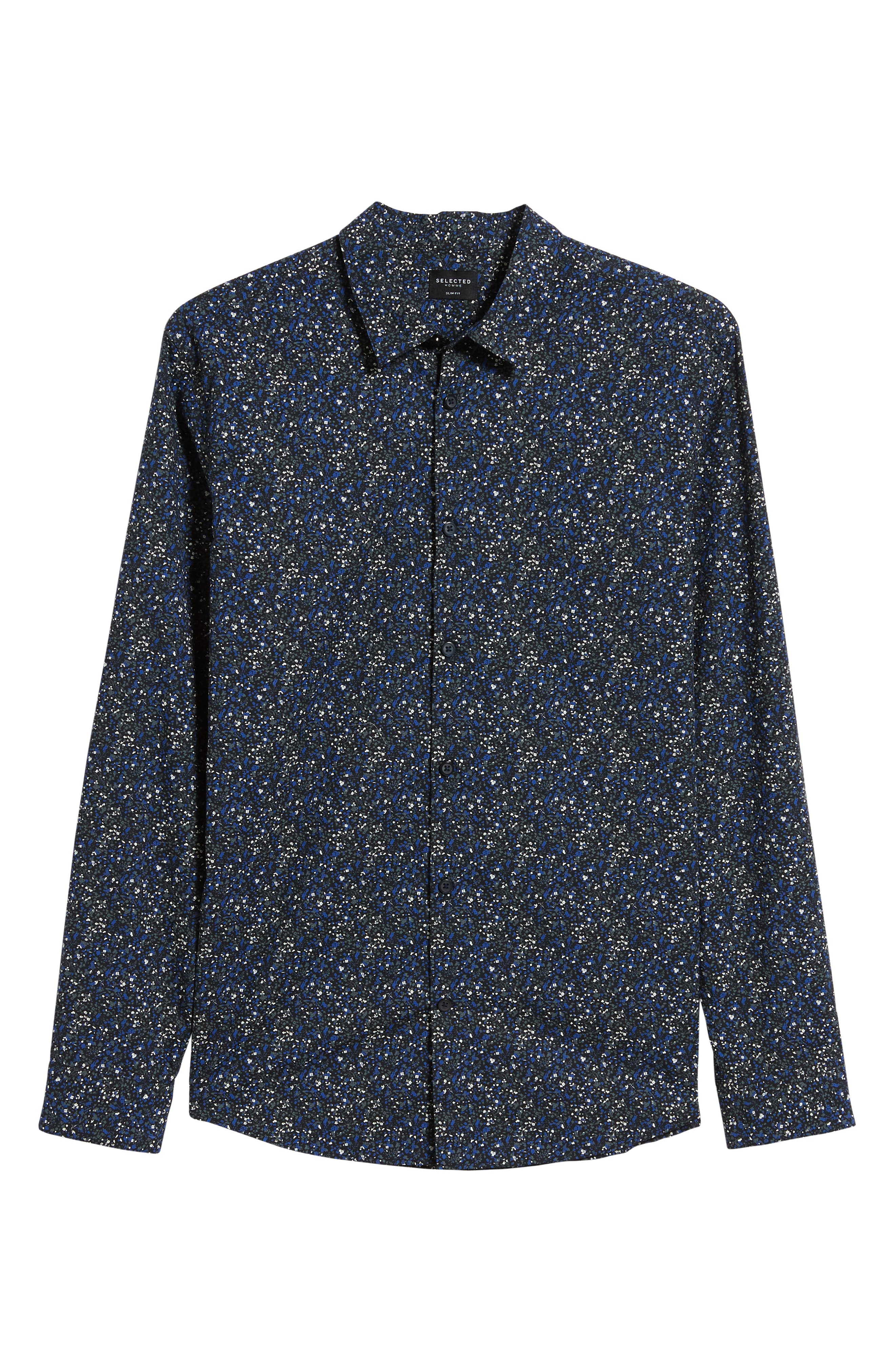 Slim Fit Sport Shirt,                             Alternate thumbnail 5, color,                             ESTATE BLUE