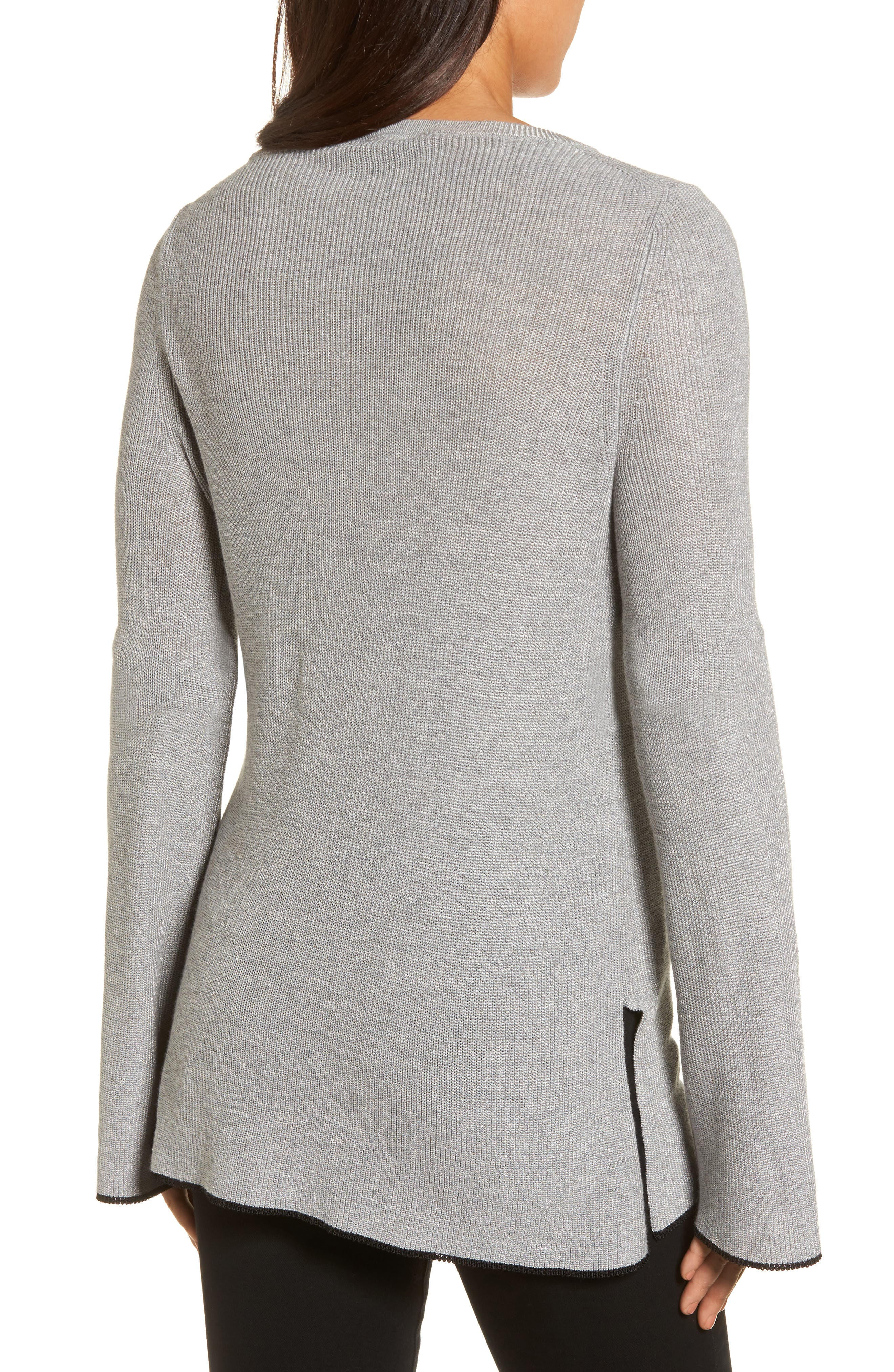 Tipped Bell Sleeve Sweater,                             Alternate thumbnail 9, color,
