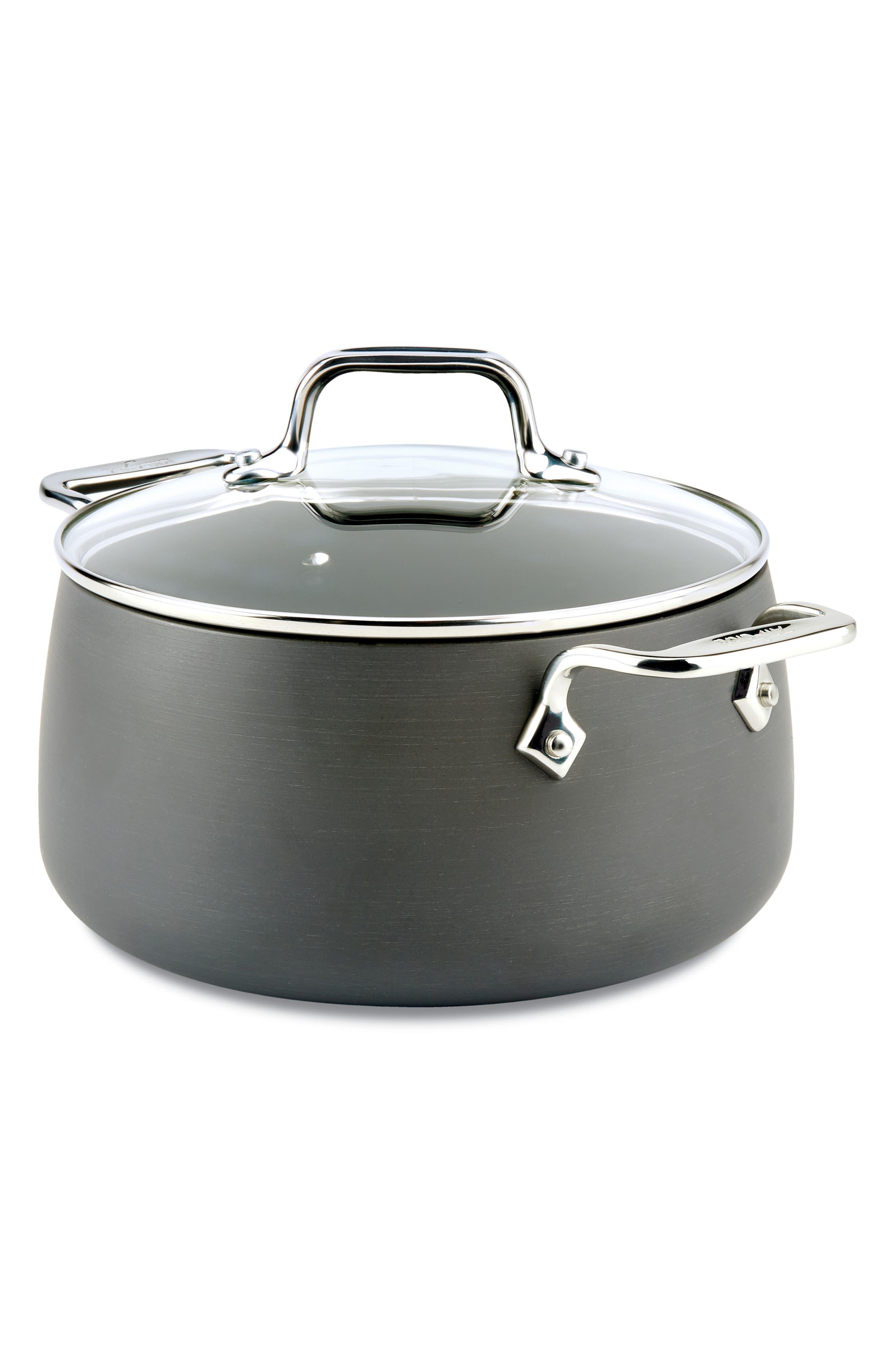 HA1 Hard Anodized 4-Quart Soup Pot with Lid,                             Main thumbnail 1, color,                             BLACK