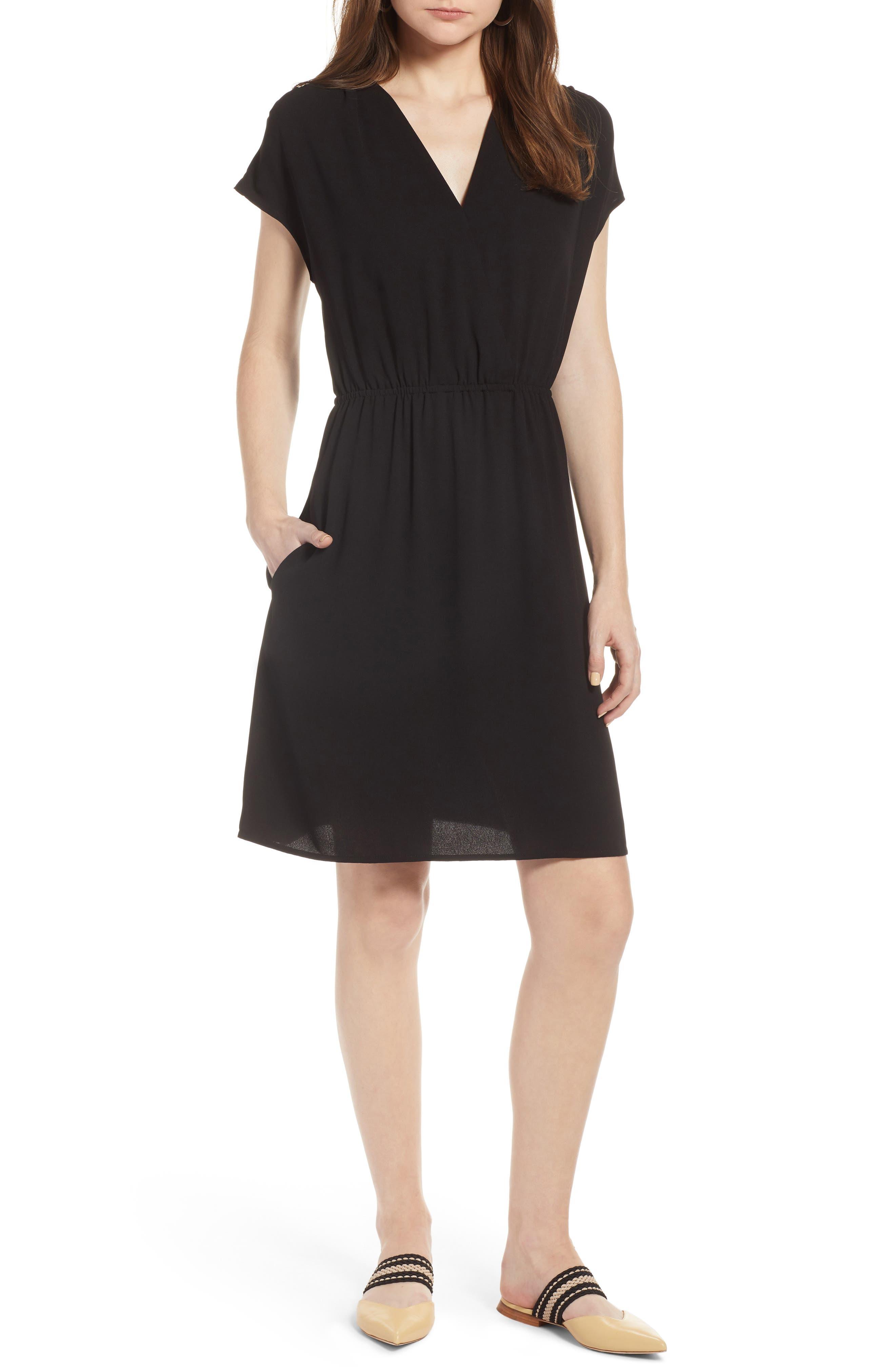 Petite Halogen Faux Wrap Dress, Black