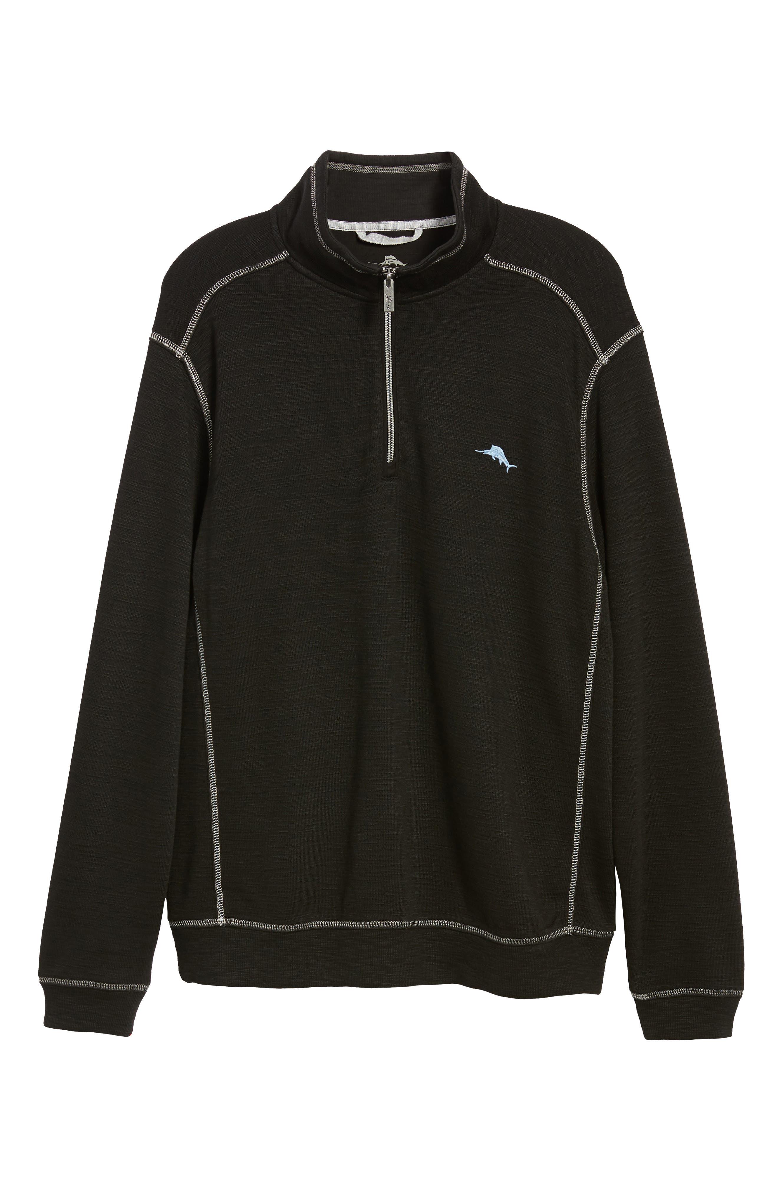 Tobago Half Zip Pullover,                             Alternate thumbnail 6, color,                             BLACK