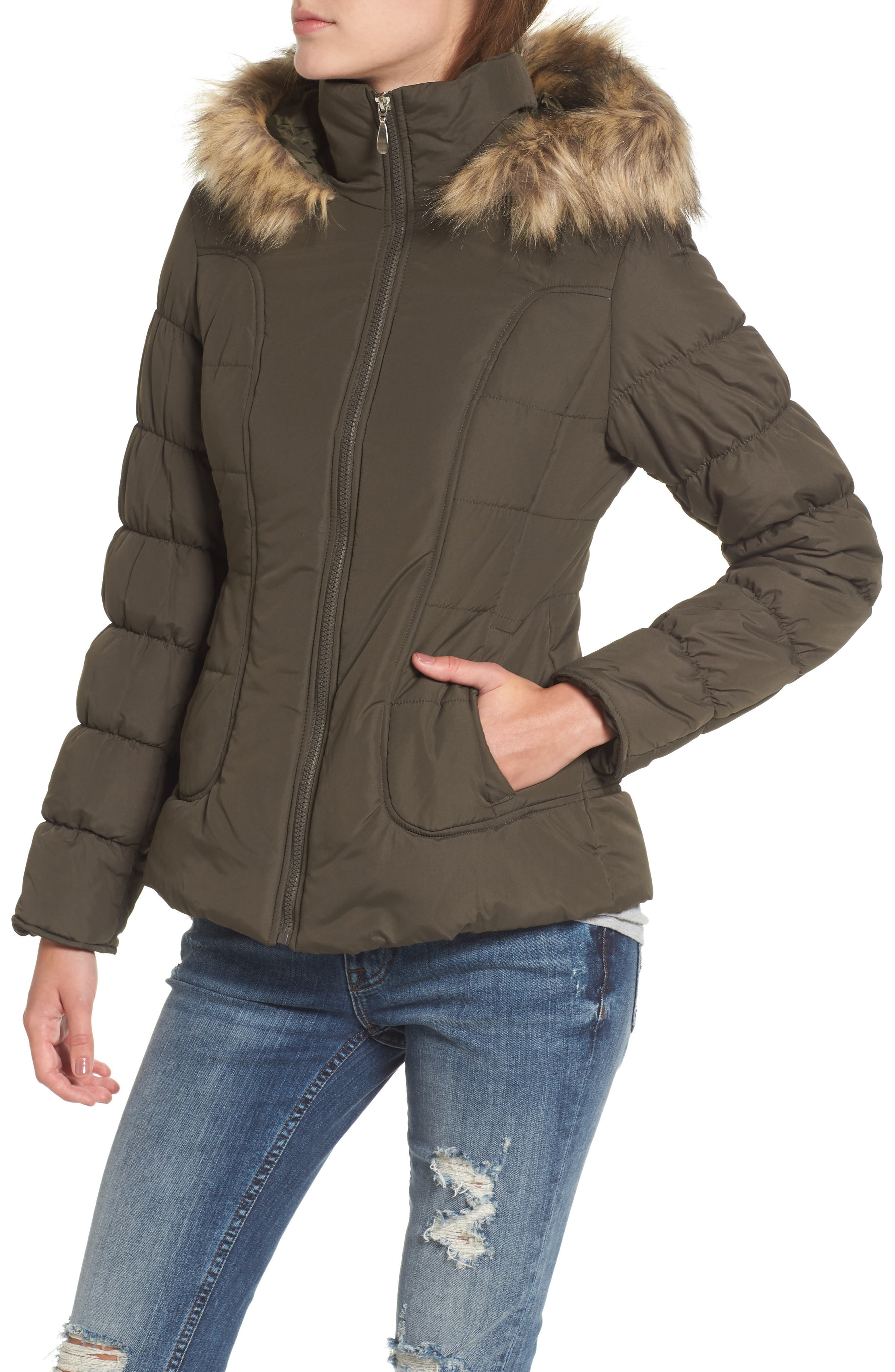 Quilted Jacket with Faux Fur Collar,                             Alternate thumbnail 8, color,