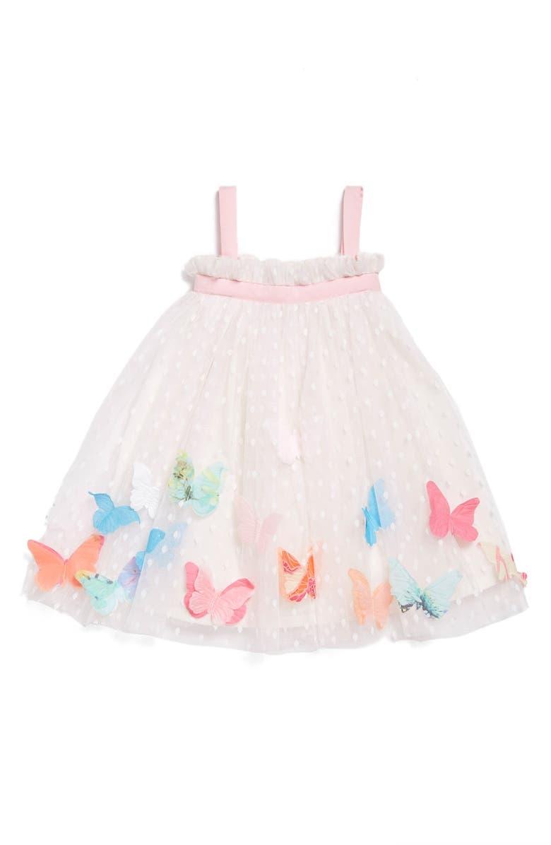 36e1a8ec3d8b Halabaloo Butterfly Appliqué Swiss Dot Sleeveless Dress (Baby Girls ...