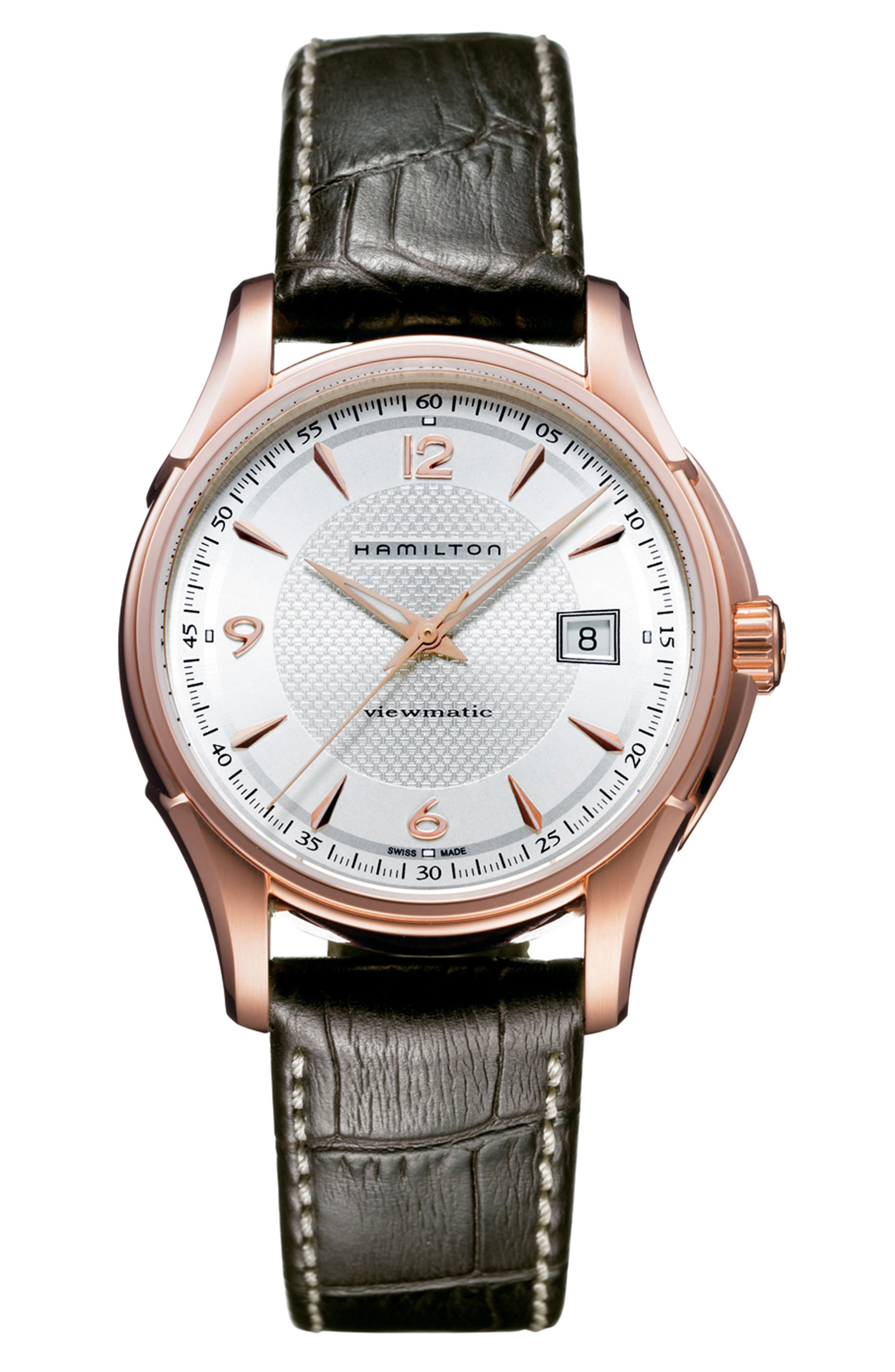 Jazzmaster Viewmatic Auto Leather Strap Watch, 40mm,                             Main thumbnail 1, color,                             BROWN/ WHITE/ ROSE GOLD