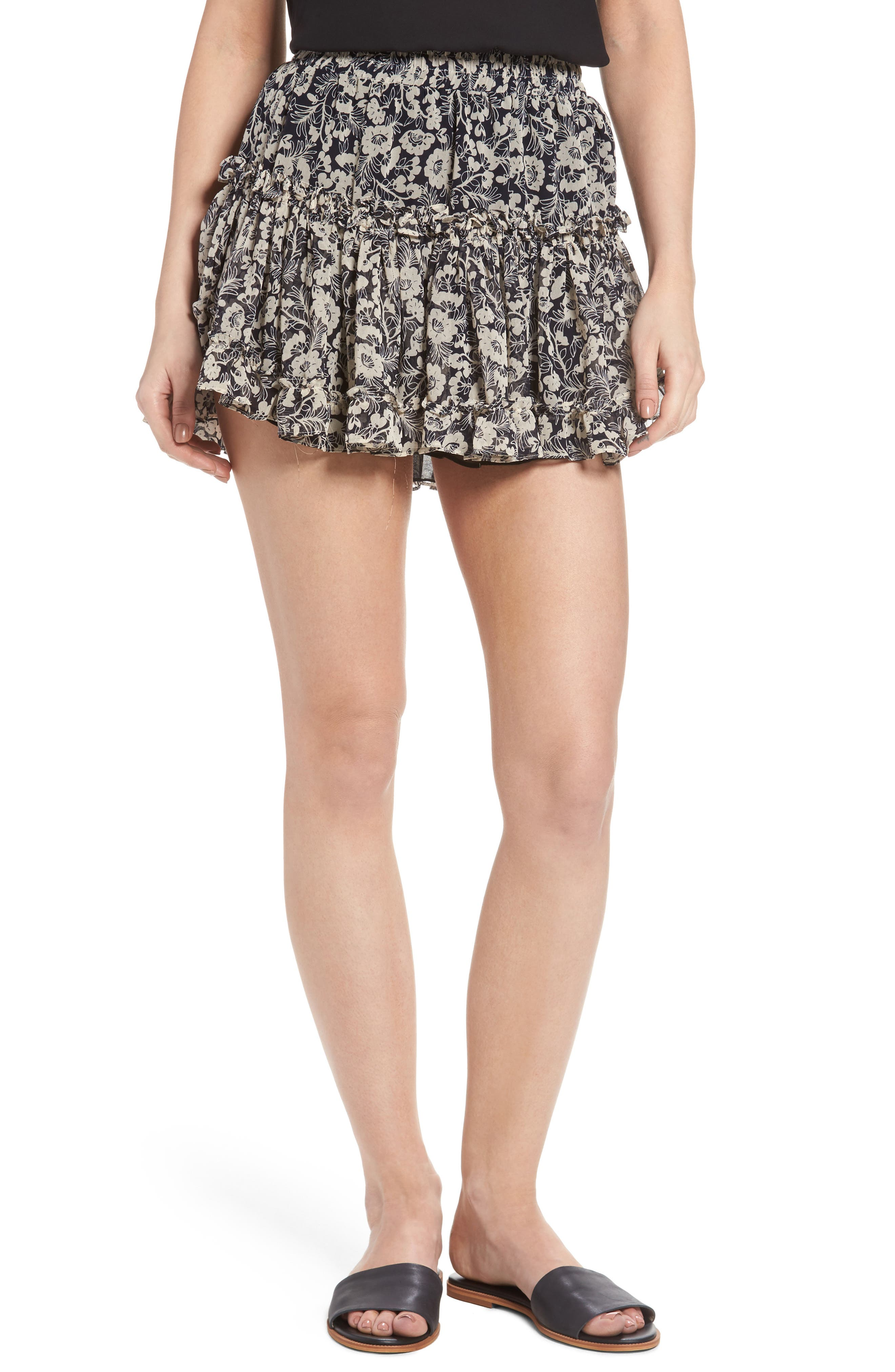 Marion Floral Print Miniskirt,                         Main,                         color, 400