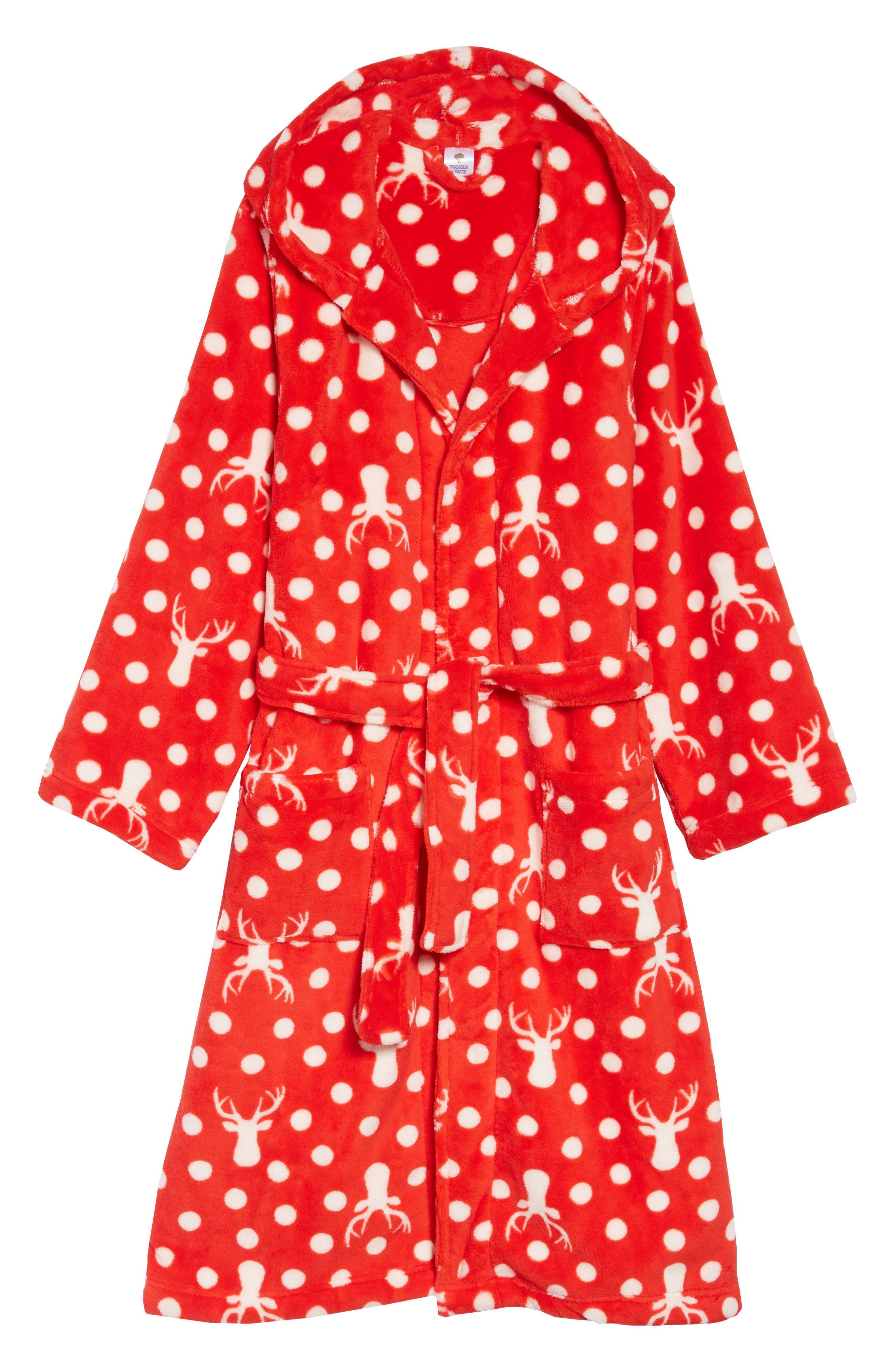 Girls Tucker  Tate Hooded Fleece Robe Size 78  Red