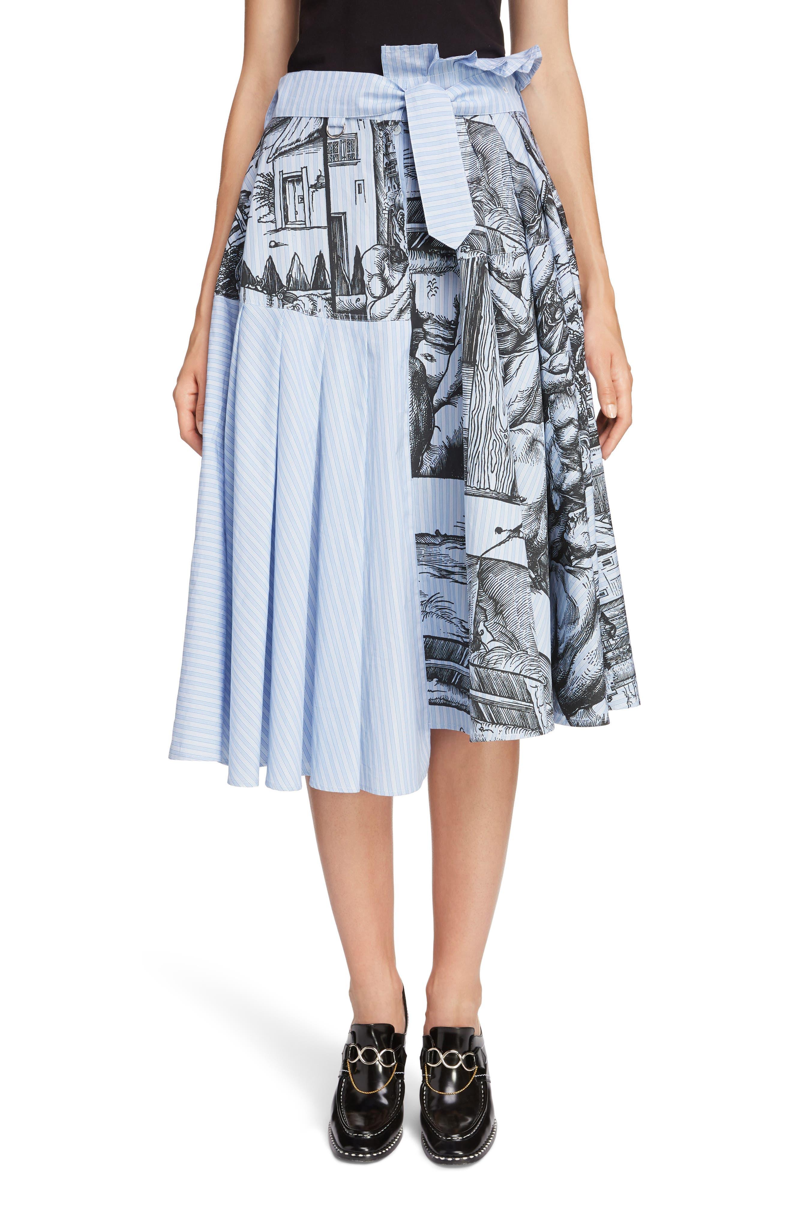JW ANDERSON,                             Dürer Scene Print Stripe Skirt,                             Main thumbnail 1, color,                             CHINA BLUE